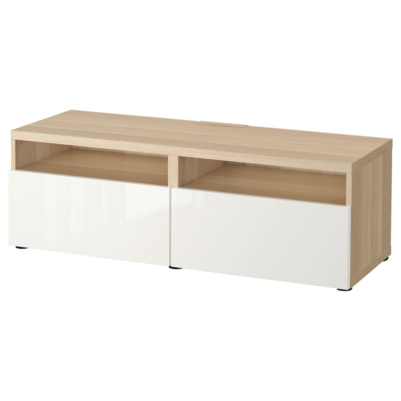 besta banc tv avec tiroirs effet chene blanchi selsviken brillant blanc 120x42x39 cm