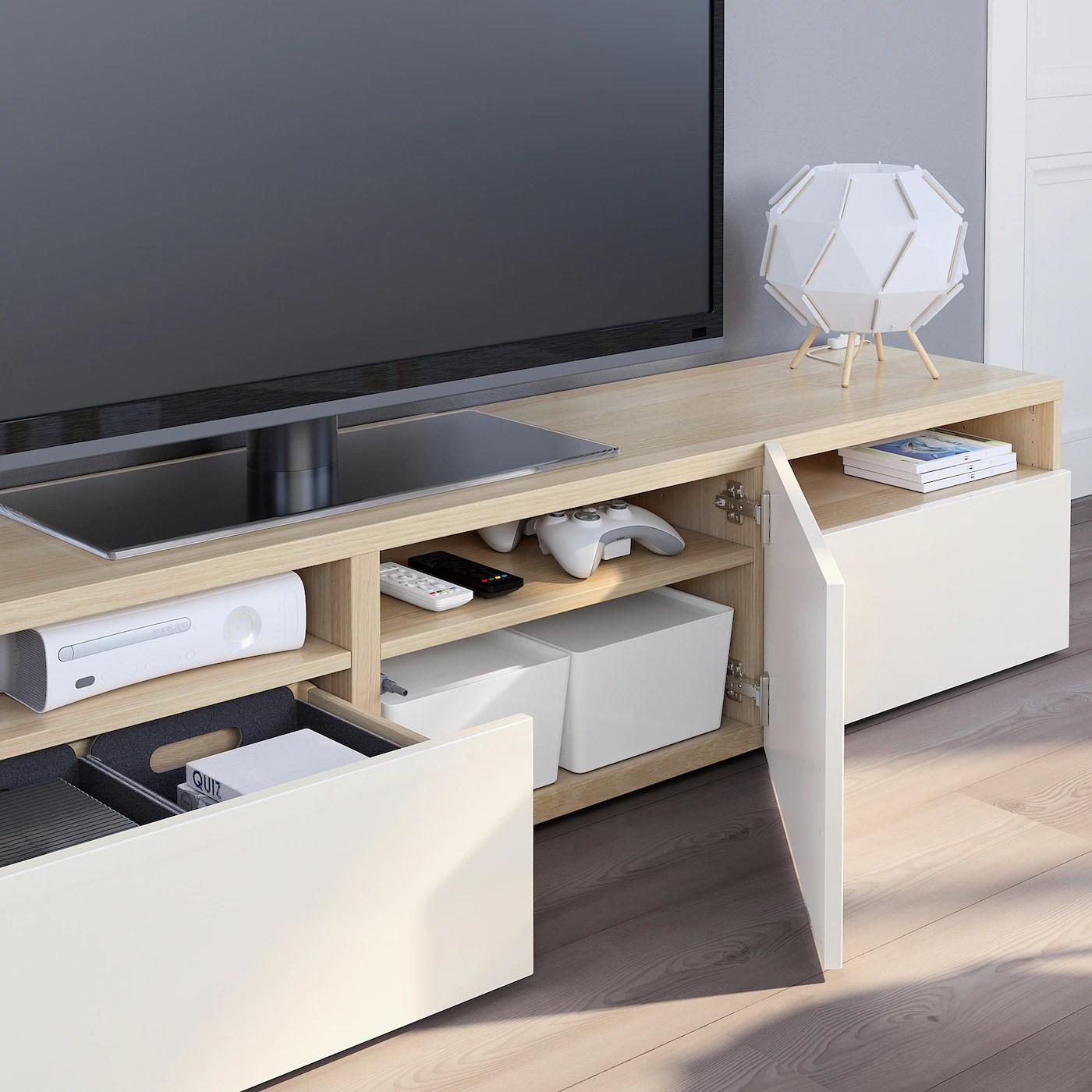 Besta Banc Tv Effet Chene Blanchi Selsviken Brillant Blanc Ikea
