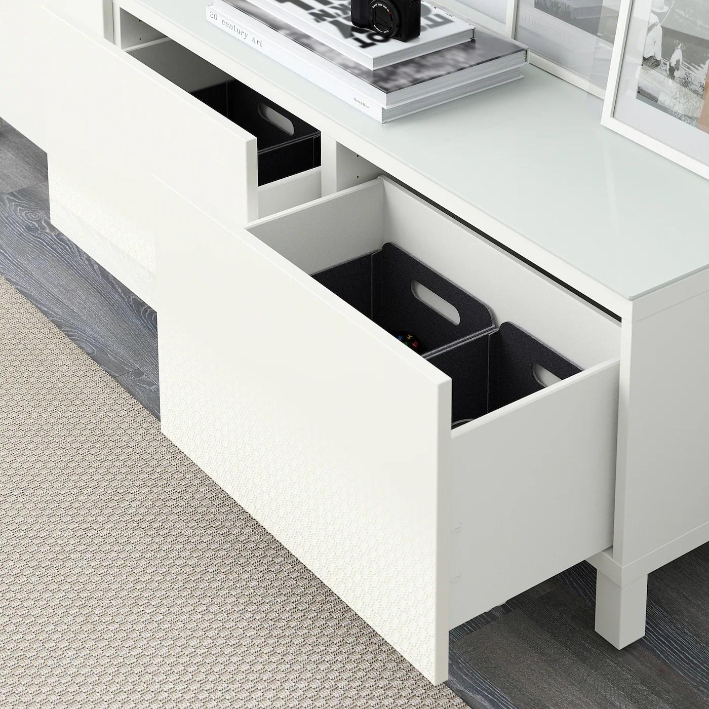 besta combinaison rangement tiroirs blanc selsviken brillant blanc 180x40x48 cm