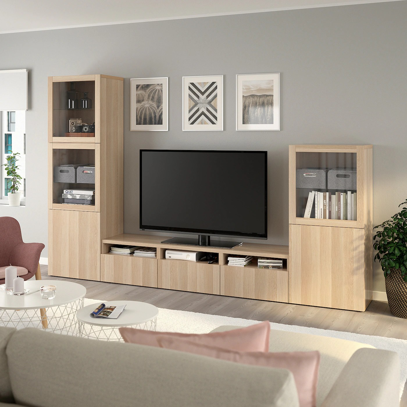 besta rangement tv vitrines effet chene blanchi lappviken motif chene blanchi verre transp 300x42x193 cm