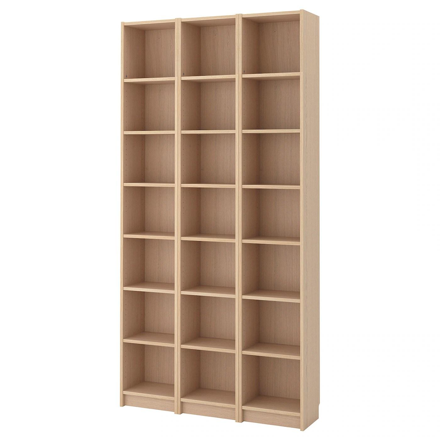 billy bibliotheque plaque chene blanchi 120x28x237 cm