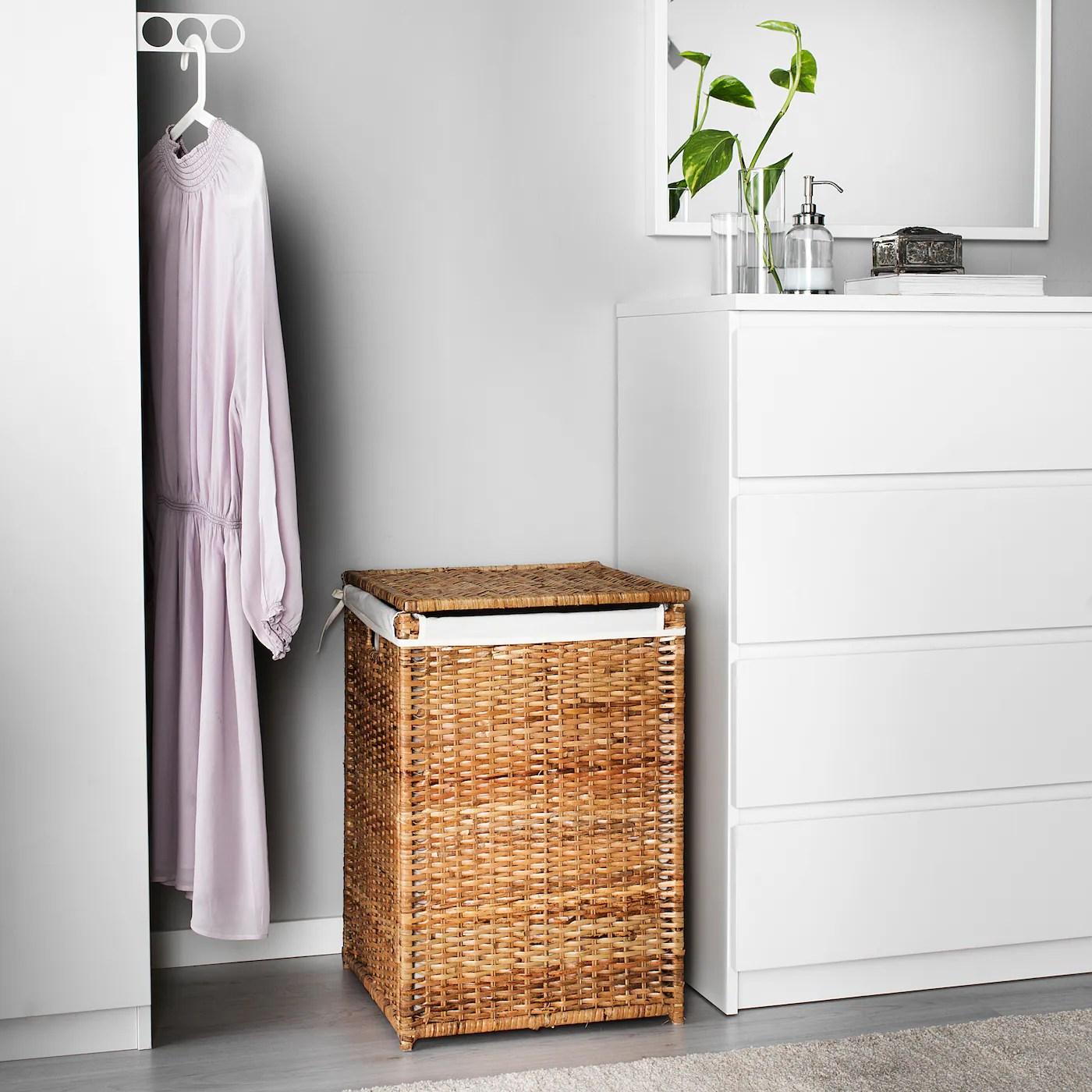 Branas Panier A Linge Interieur Tissu Rotin Ikea