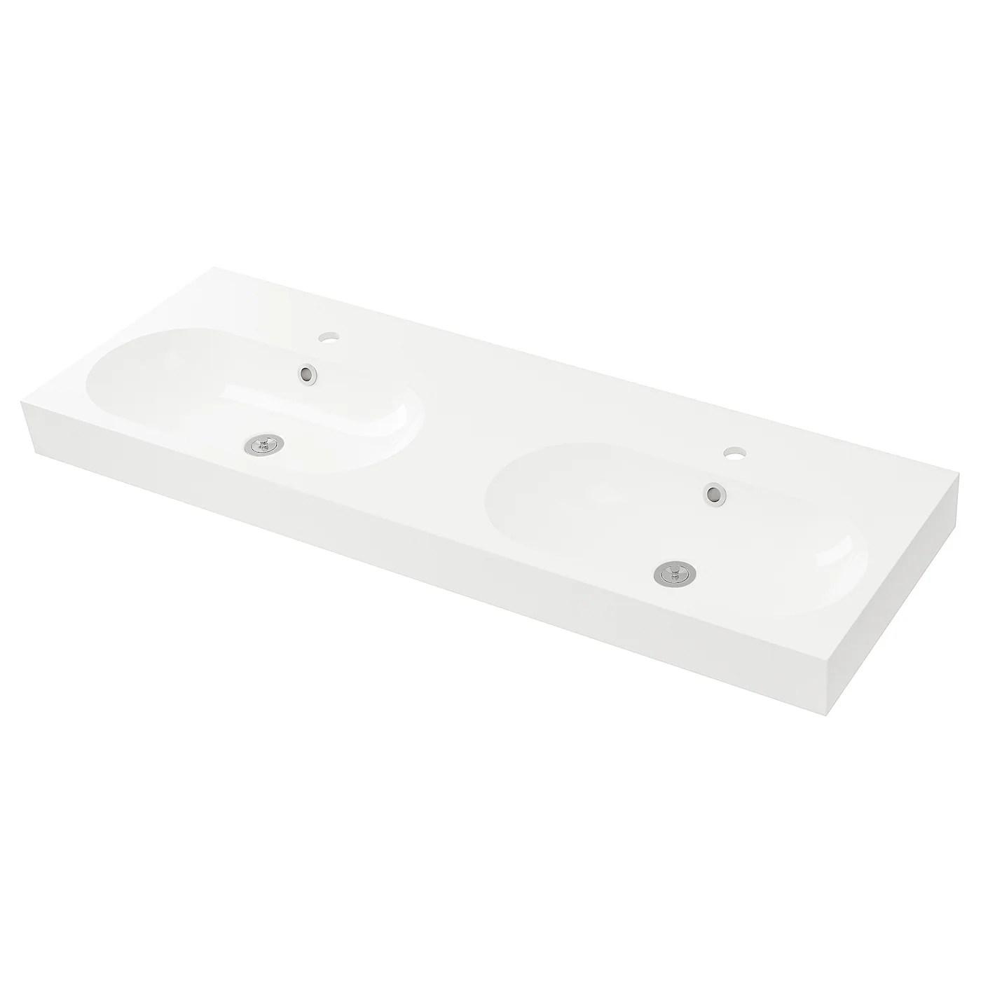 Braviken Double Vasque Blanc 140x48x10 Cm Ikea