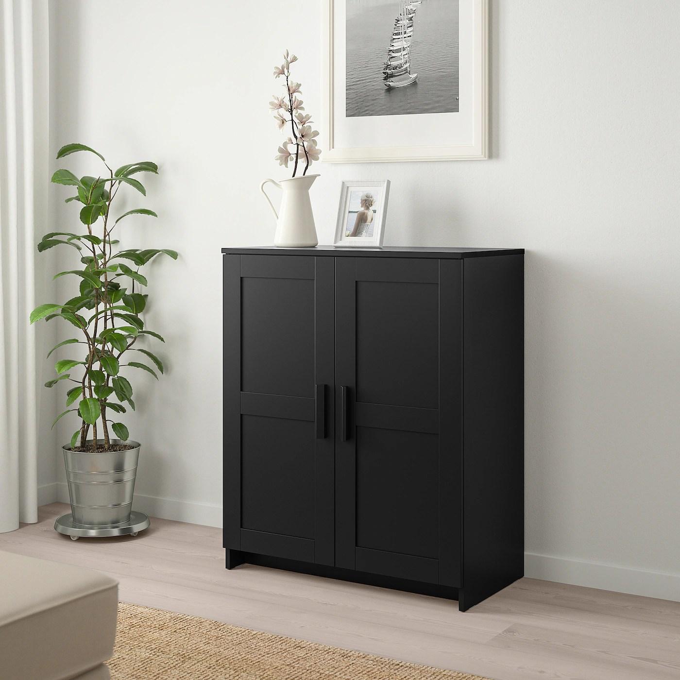 brimnes armoire avec portes noir 78x95 cm