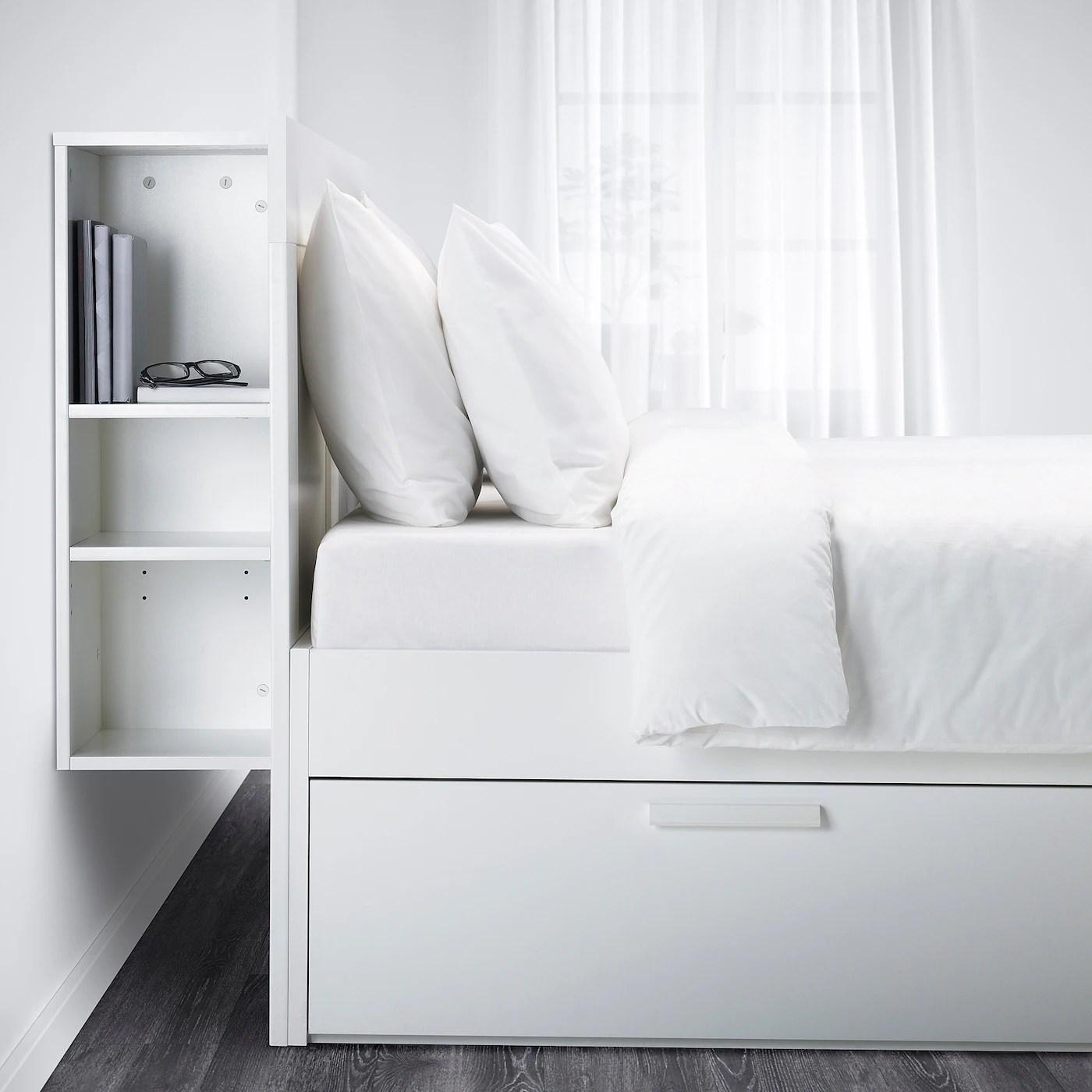 Brimnes Cadre De Lit Rangement Tete De Lit Blanc 140x200 Cm Ikea