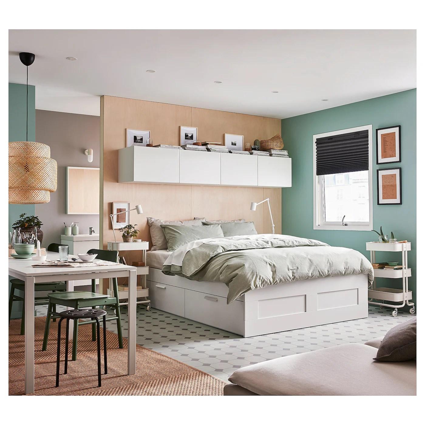 brimnes cadre lit avec rangement blanc 160x200 cm