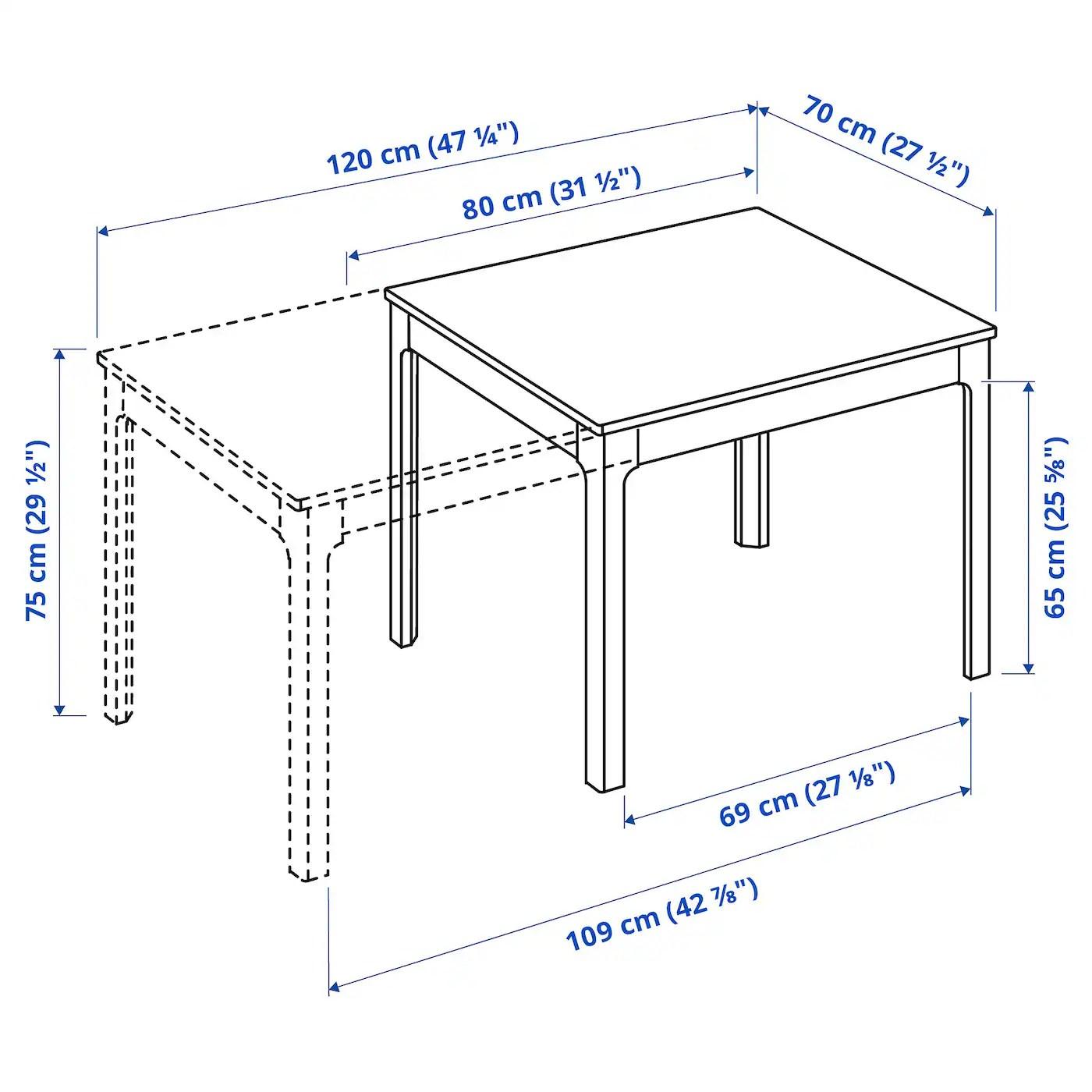 Ekedalen Table Extensible Blanc 80 120x70 Cm Ikea