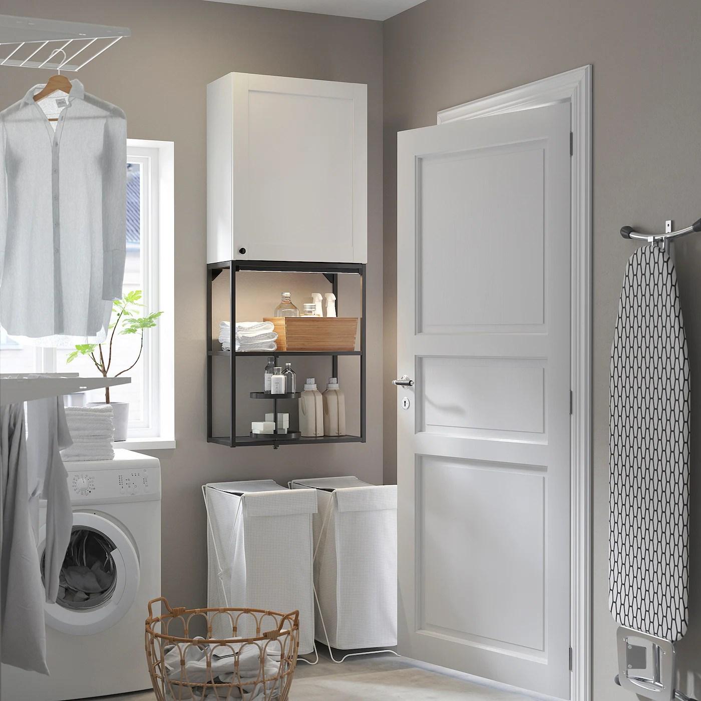 Enhet Combinaison Rangement Murale Anthracite Blanc Avec Cadre 60x30x150 Ikea