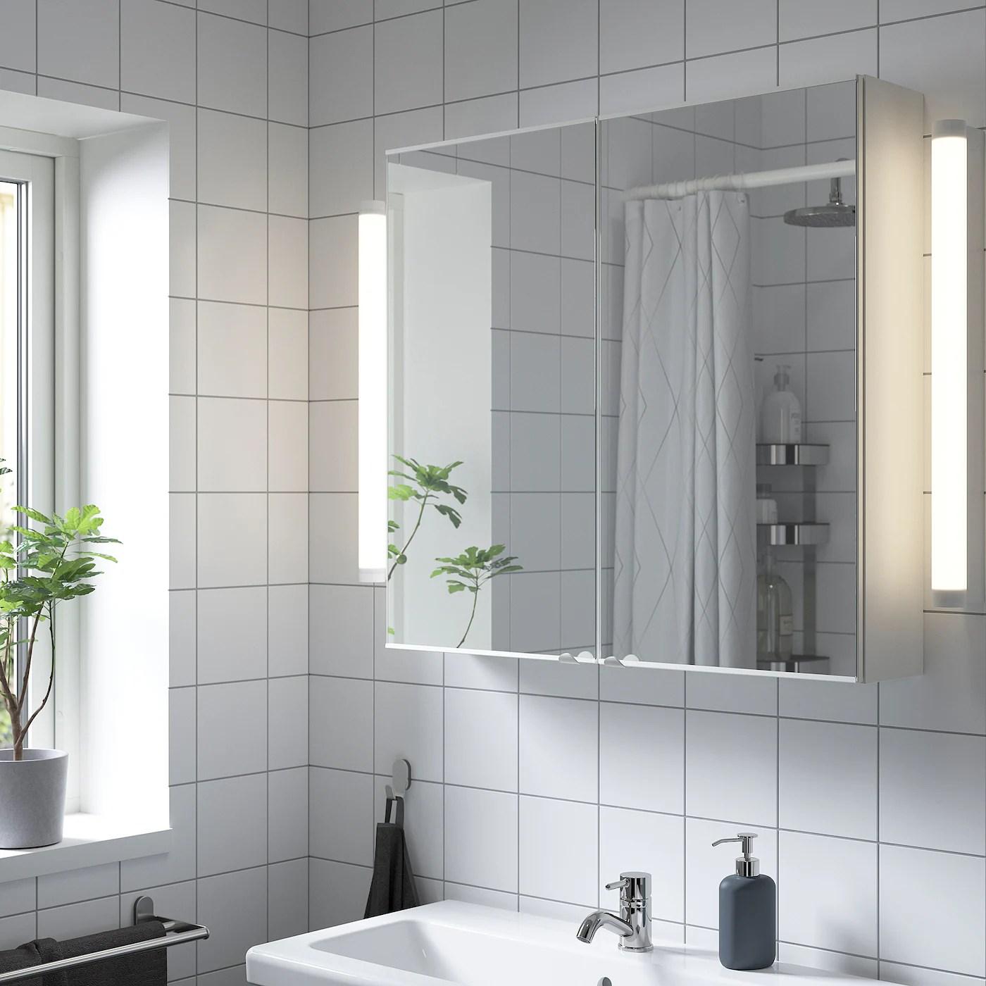 Enhet Meuble Miroir 2 Portes Blanc 80x15x75 Cm Ikea