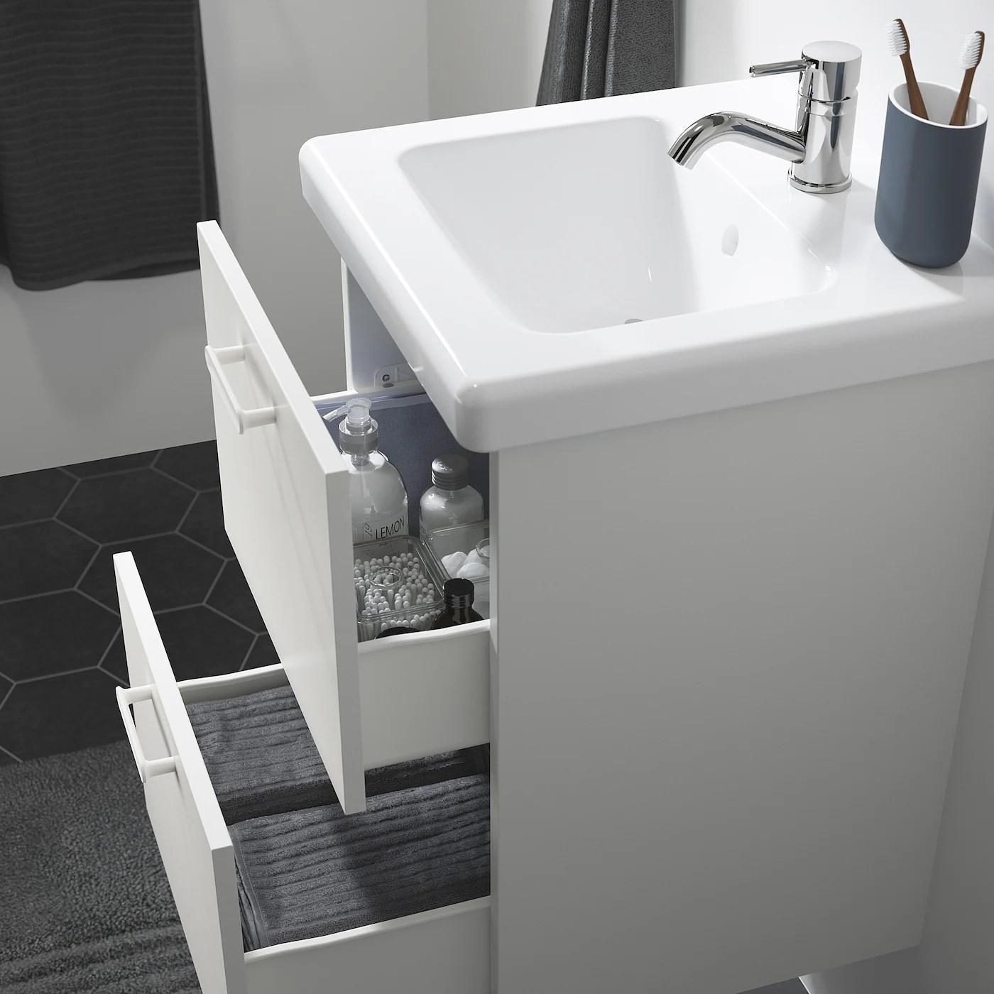 Enhet Tvallen Meuble Lavabo 2tir Blanc Pilkan Mitigeur Lavabo 44x43x65 Ikea