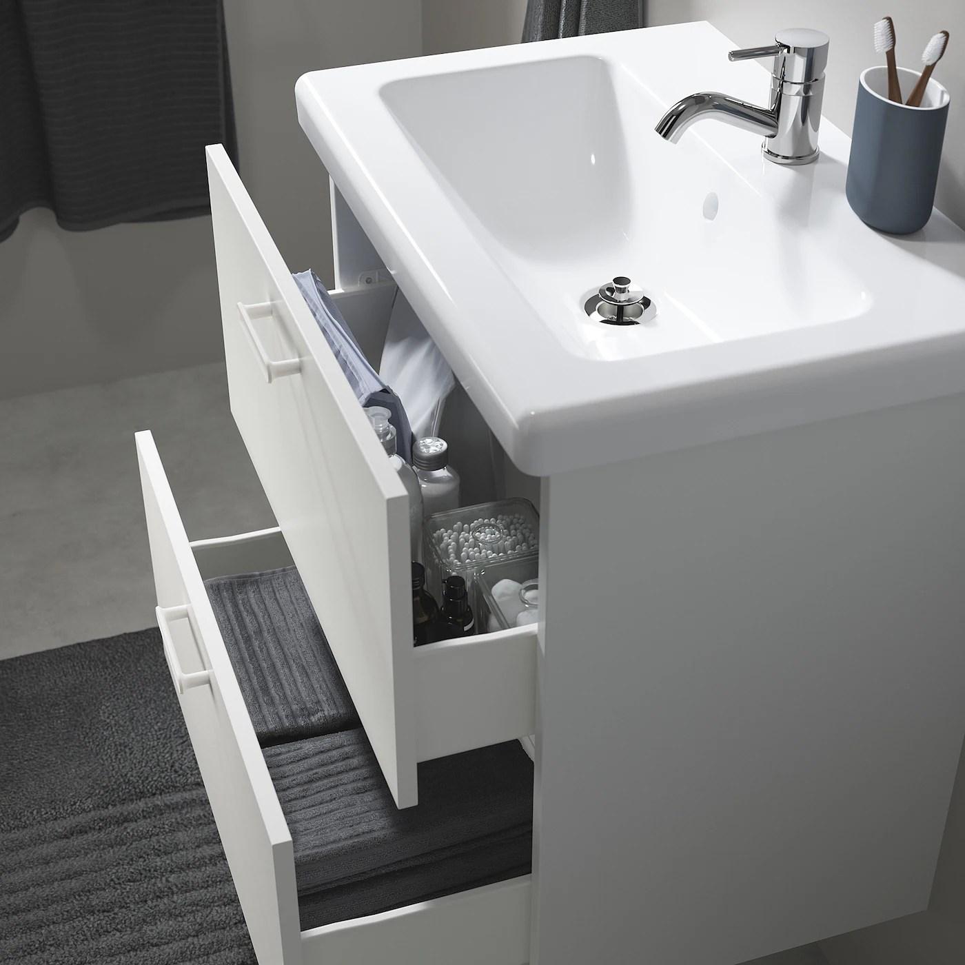 Enhet Tvallen Meuble Lavabo 2tir Blanc Pilkan Mitigeur Lavabo 64x43x87 Ikea