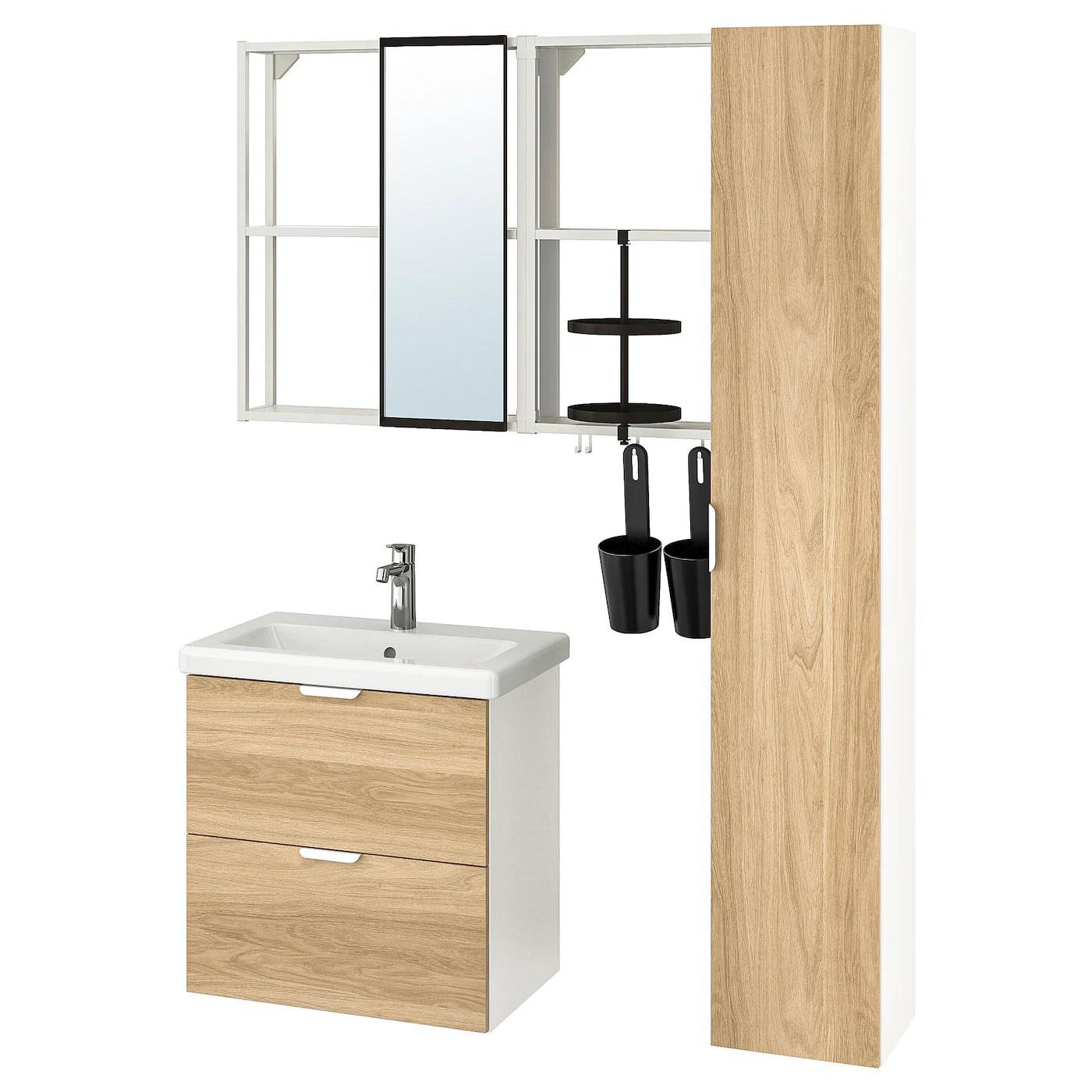 Enhet Tvallen Mobilier Salle De Bain 18 Pieces Motif Chene Blanc Mitigeur Lavabo Brogrund Ikea
