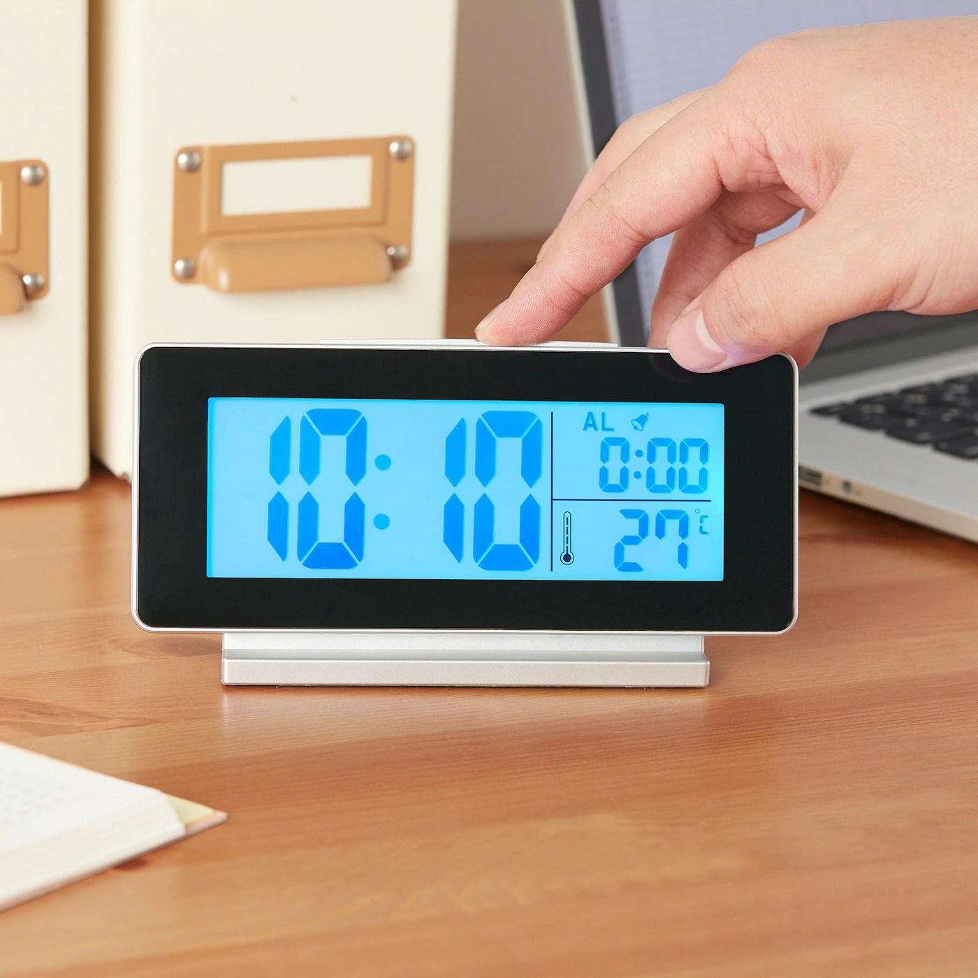 Filmis Horloge Thermometre Reveil Noir Ikea