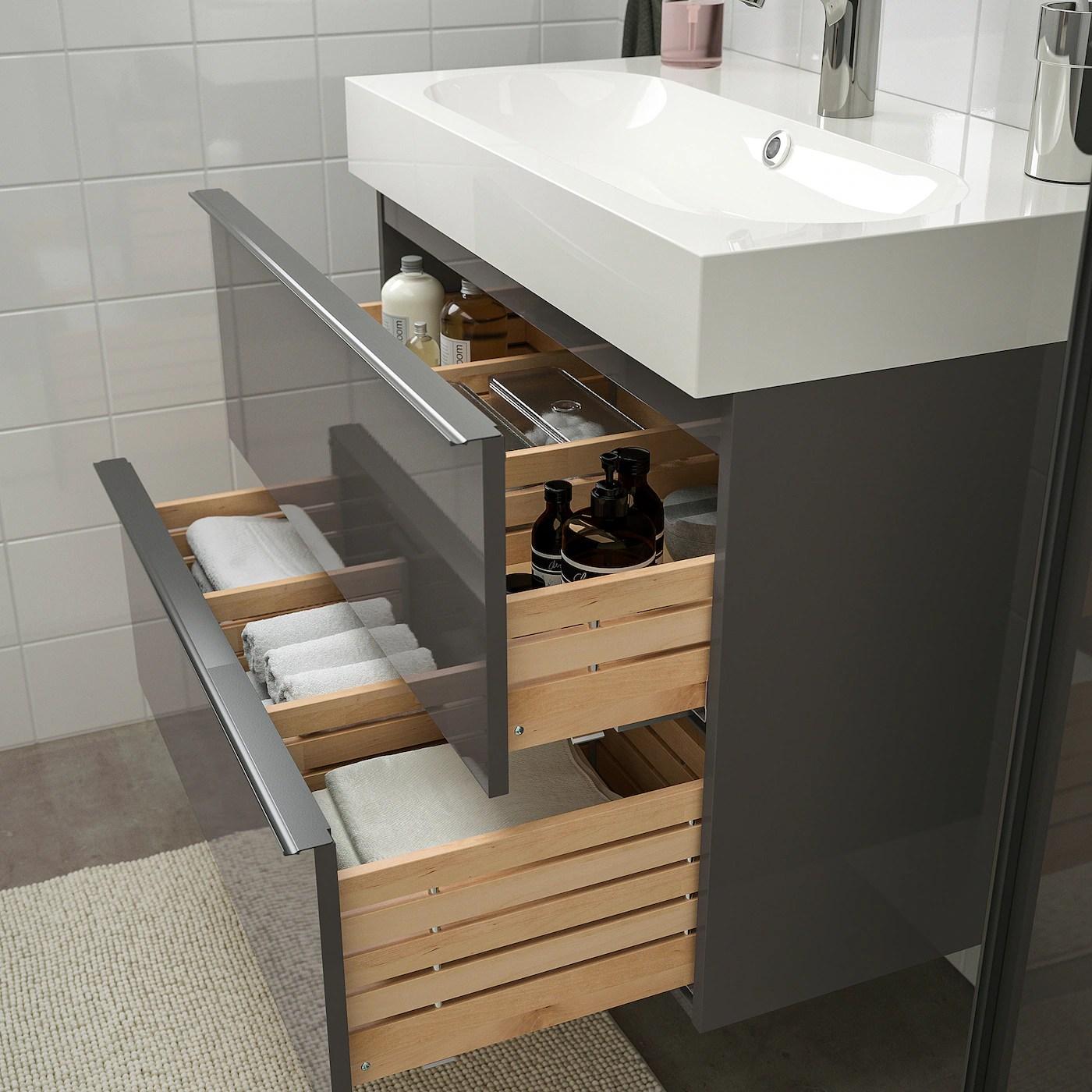 godmorgon braviken mobilier salle de bain 5 pieces brillant gris mitigeur lavabo brogrund 80 cm