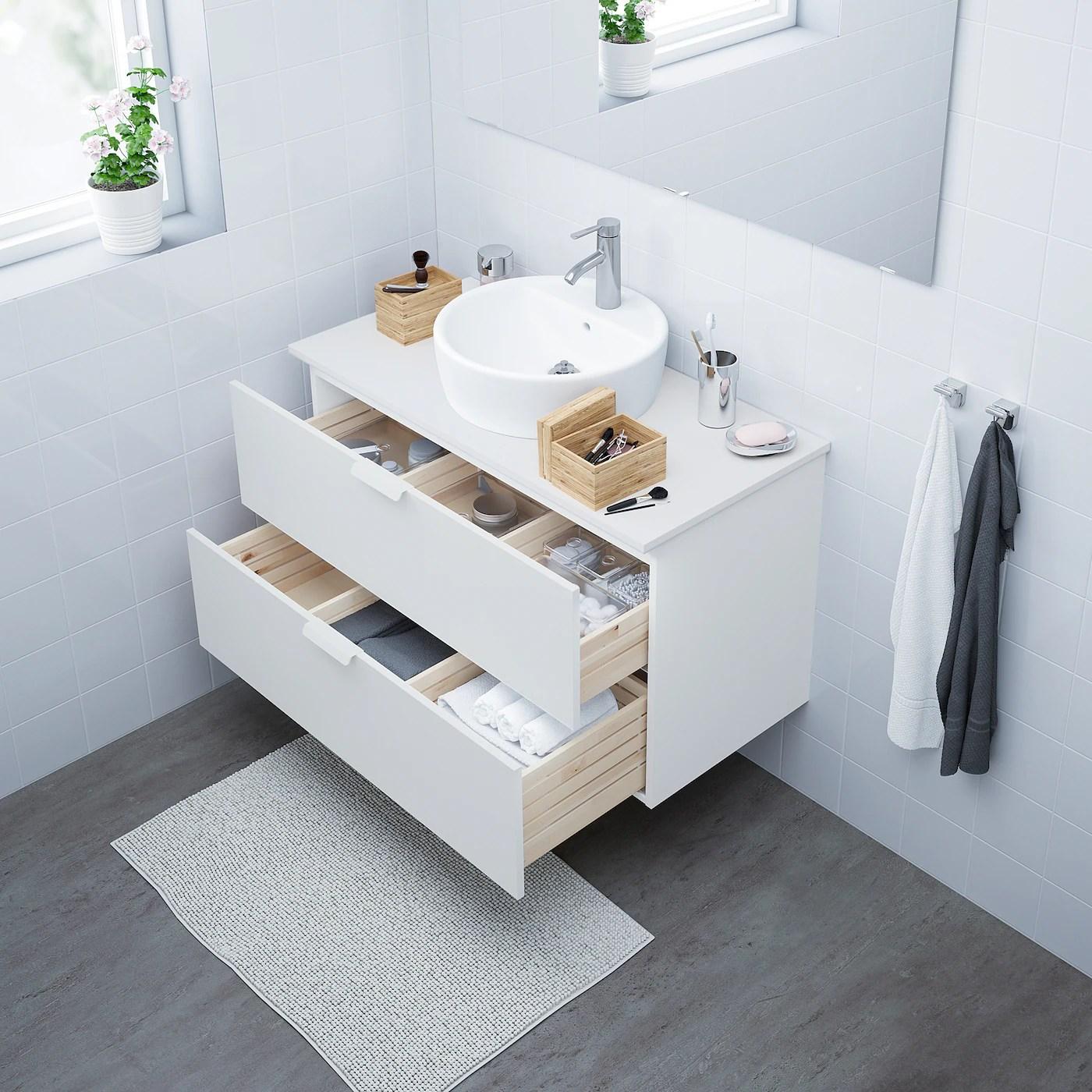 Godmorgon Meuble Lavabo 2tir Blanc 100x47x58 Cm Ikea
