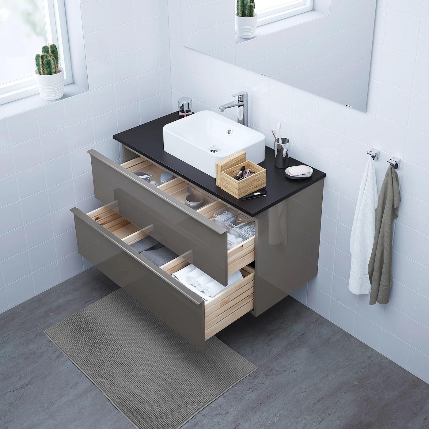 Godmorgon Meuble Lavabo 2tir Brillant Gris 100x47x58 Cm Ikea