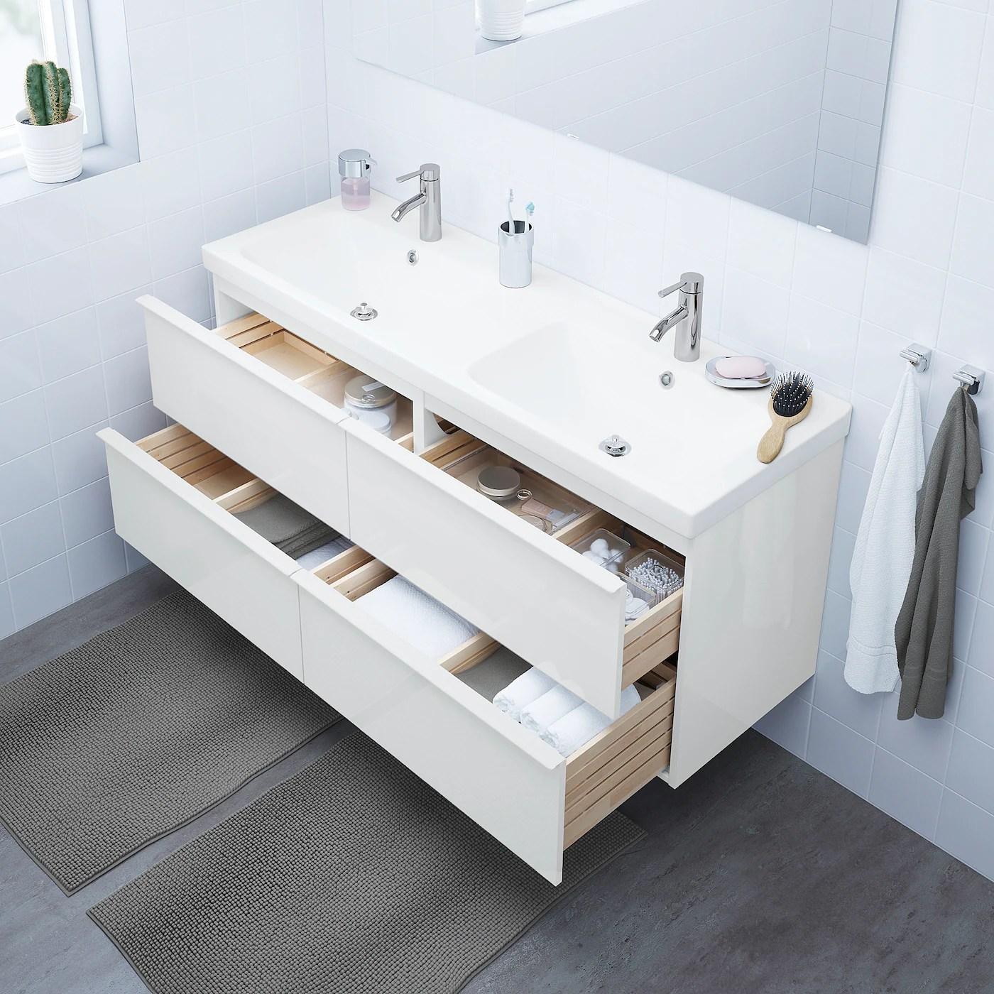 Godmorgon Meuble Lavabo 4tir Brillant Blanc 140x47x58 Cm Ikea