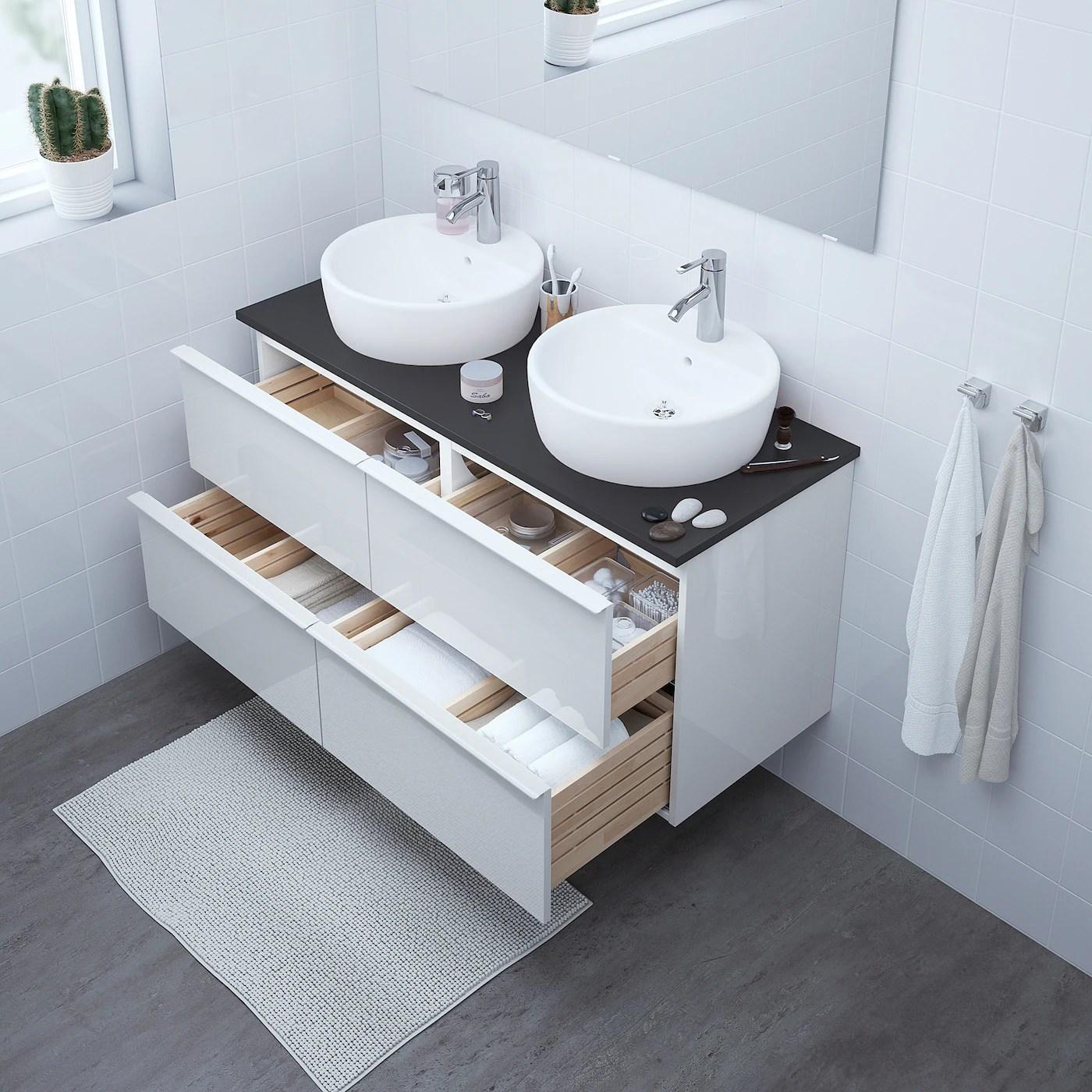 godmorgon meuble lavabo 4tir brillant blanc 120x47x58 cm