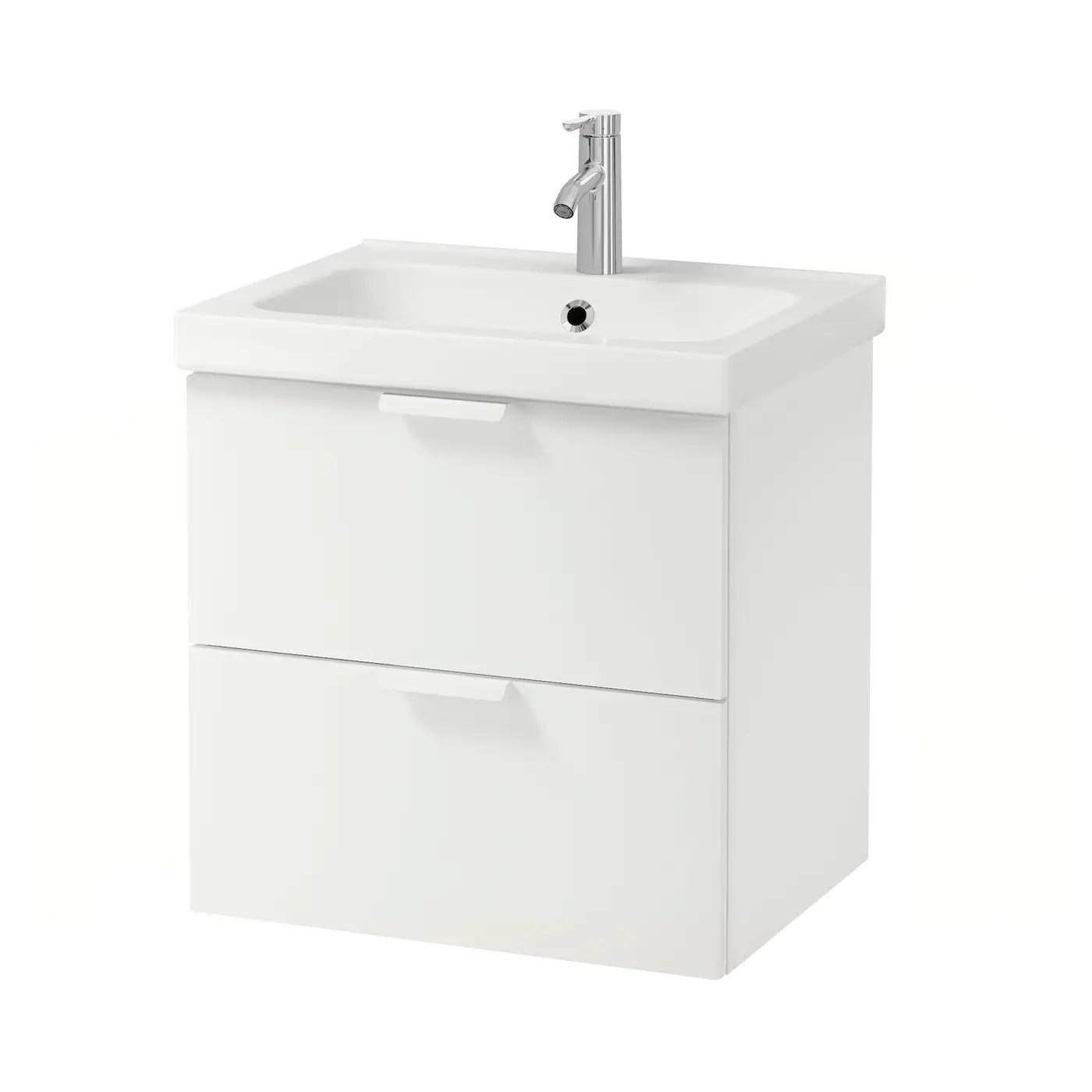 godmorgon odensvik meuble lavabo 2tir blanc dalskar mitigeur lavabo 63x49x64 cm