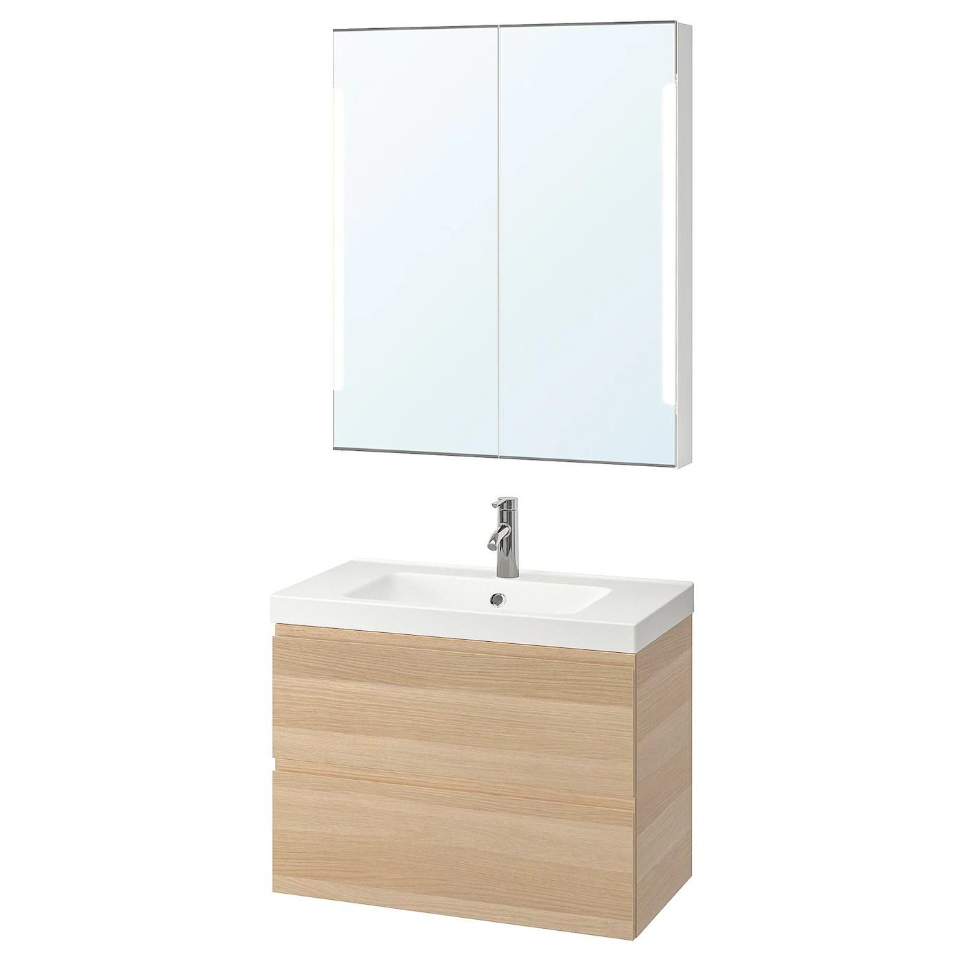 Godmorgon Odensvik Mobilier Salle De Bain 4 Pieces Effet Chene Blanc Hi Dalskar Mitigeur Lavabo83 Cm Ikea