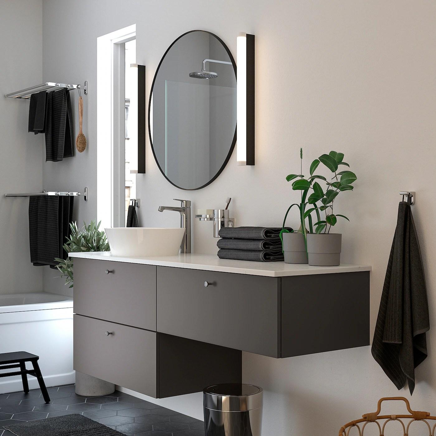 godmorgon tolken kattevik mobilier salle de bain 6 pieces gillburen gris fonce marbre mitigeur lavabo brogrund 162x49x75 cm