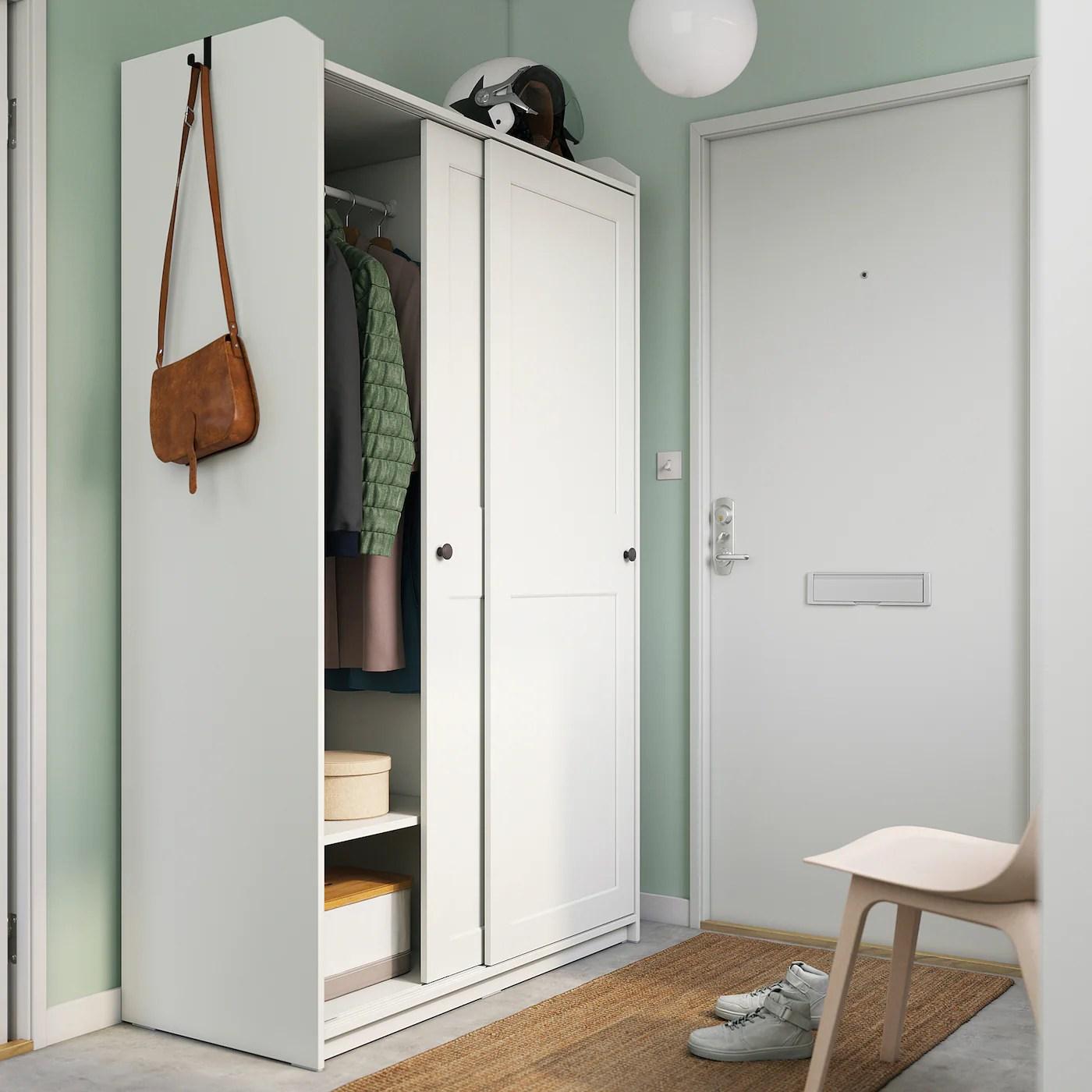 Hauga Armoire A Portes Coulissantes Blanc 118x55x199 Cm Ikea