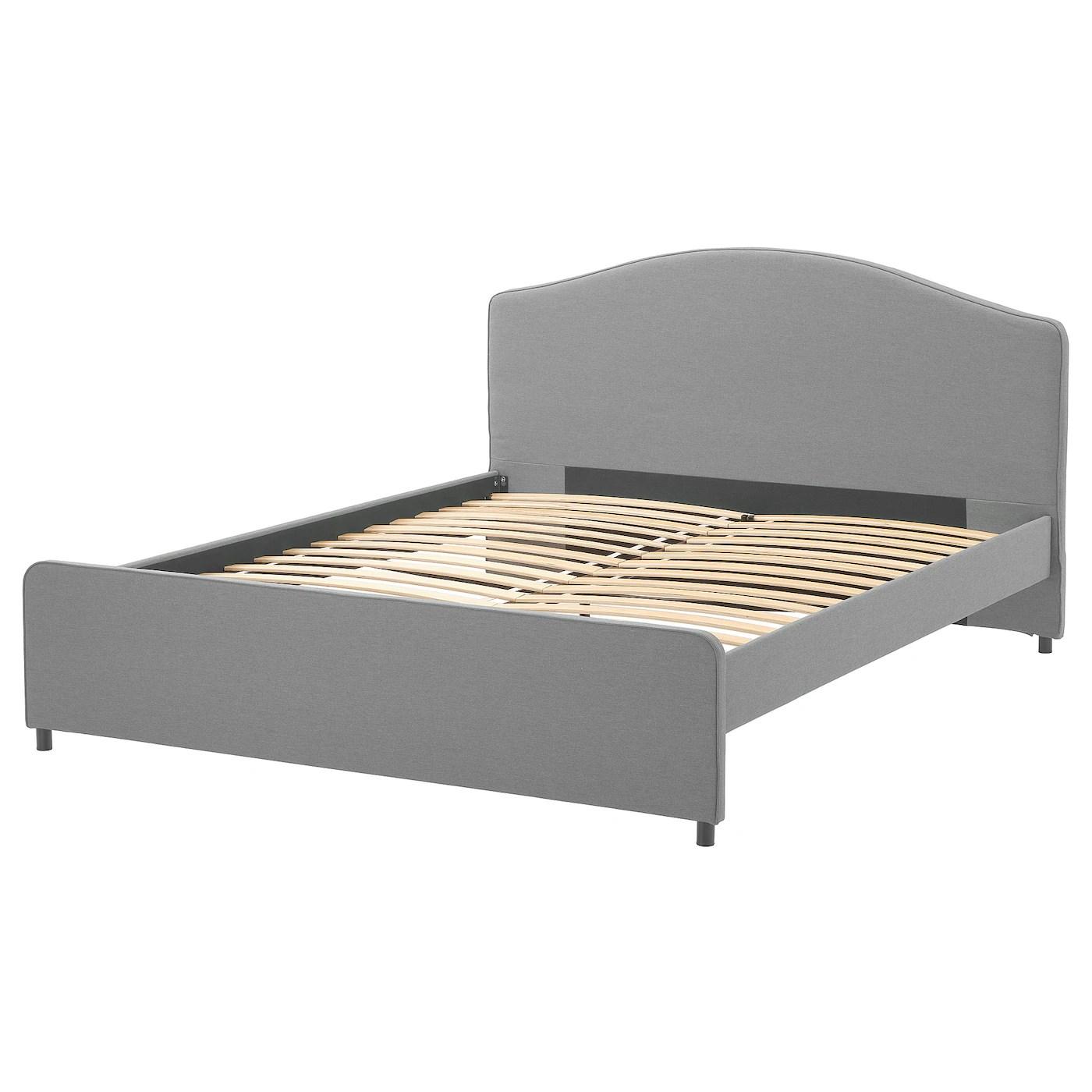 Hauga Cadre De Lit Matelasse Vissle Gris 140x200 Cm Ikea