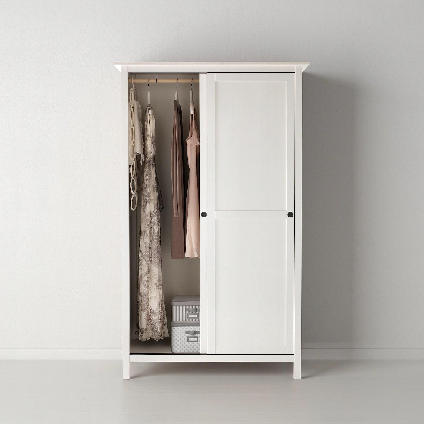 Hemnes Armoire 2 Portes Coulissantes Teinte Blanc 120x197 Cm Ikea