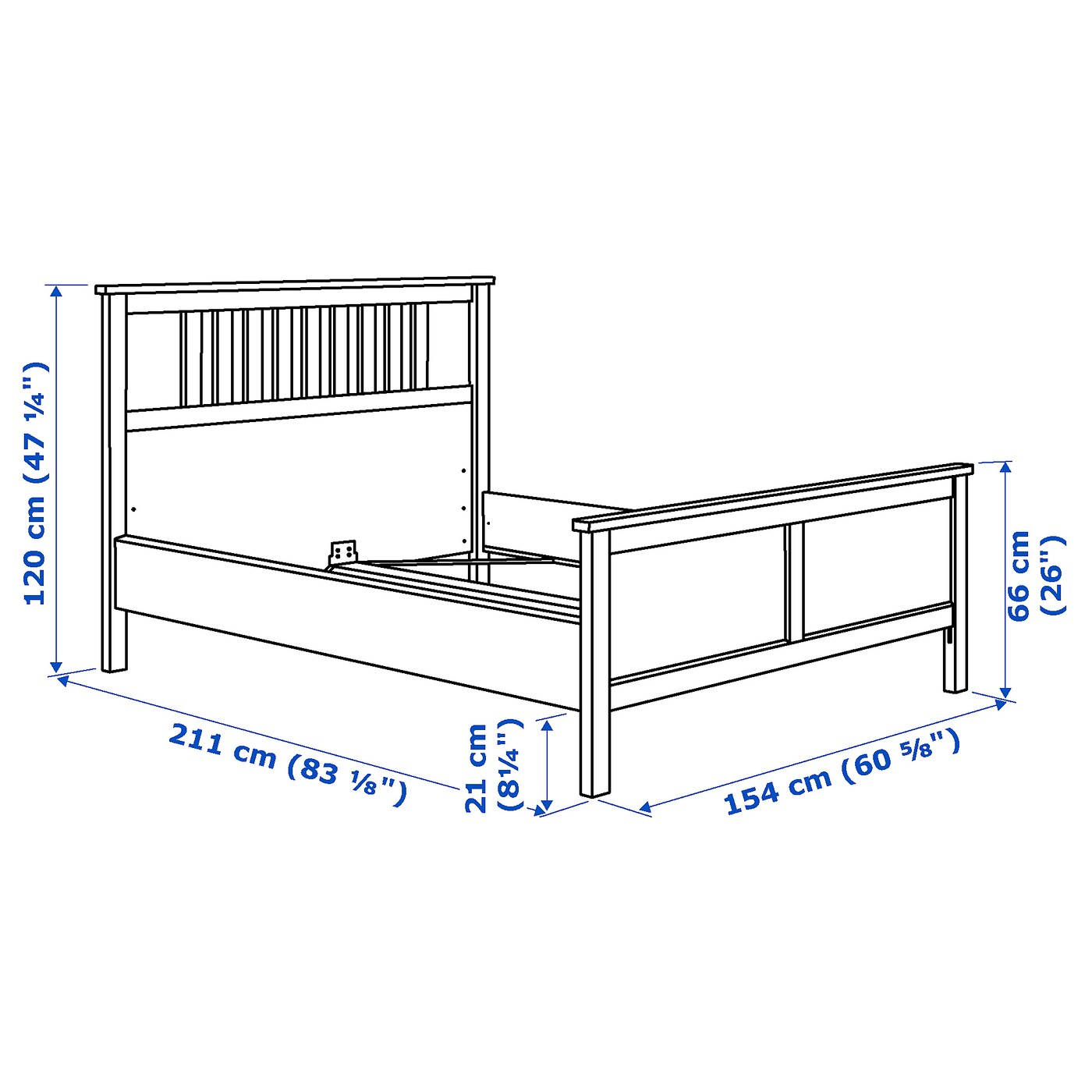 Hemnes Cadre De Lit Brun Noir 140x200 Cm Ikea