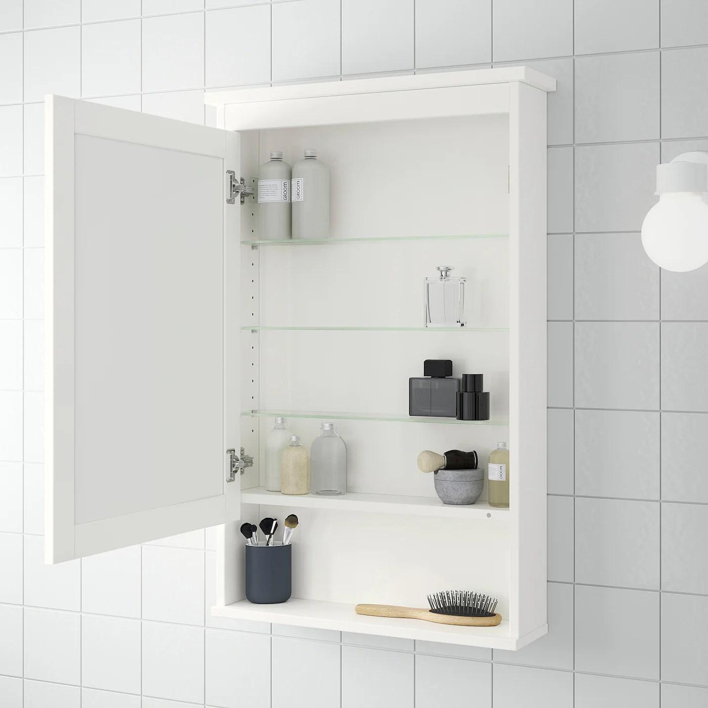 hemnes meuble a miroir 1 porte blanc 63x16x98 cm