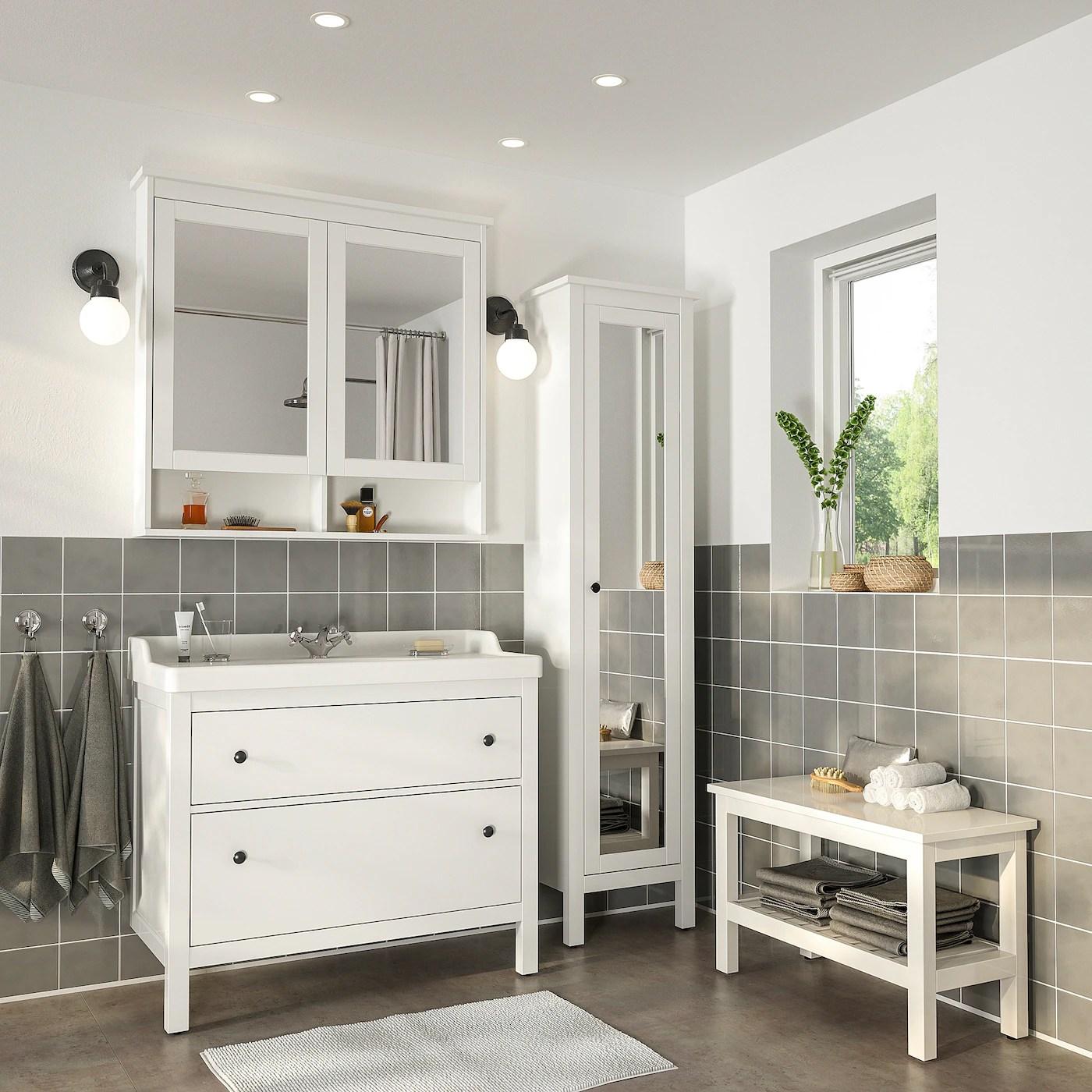 Decouvrez Hemnes Rattviken Mobilier Salle De Bain 5 Pieces Blanc Runskar Mitigeur Lavabo Ikea Ikea