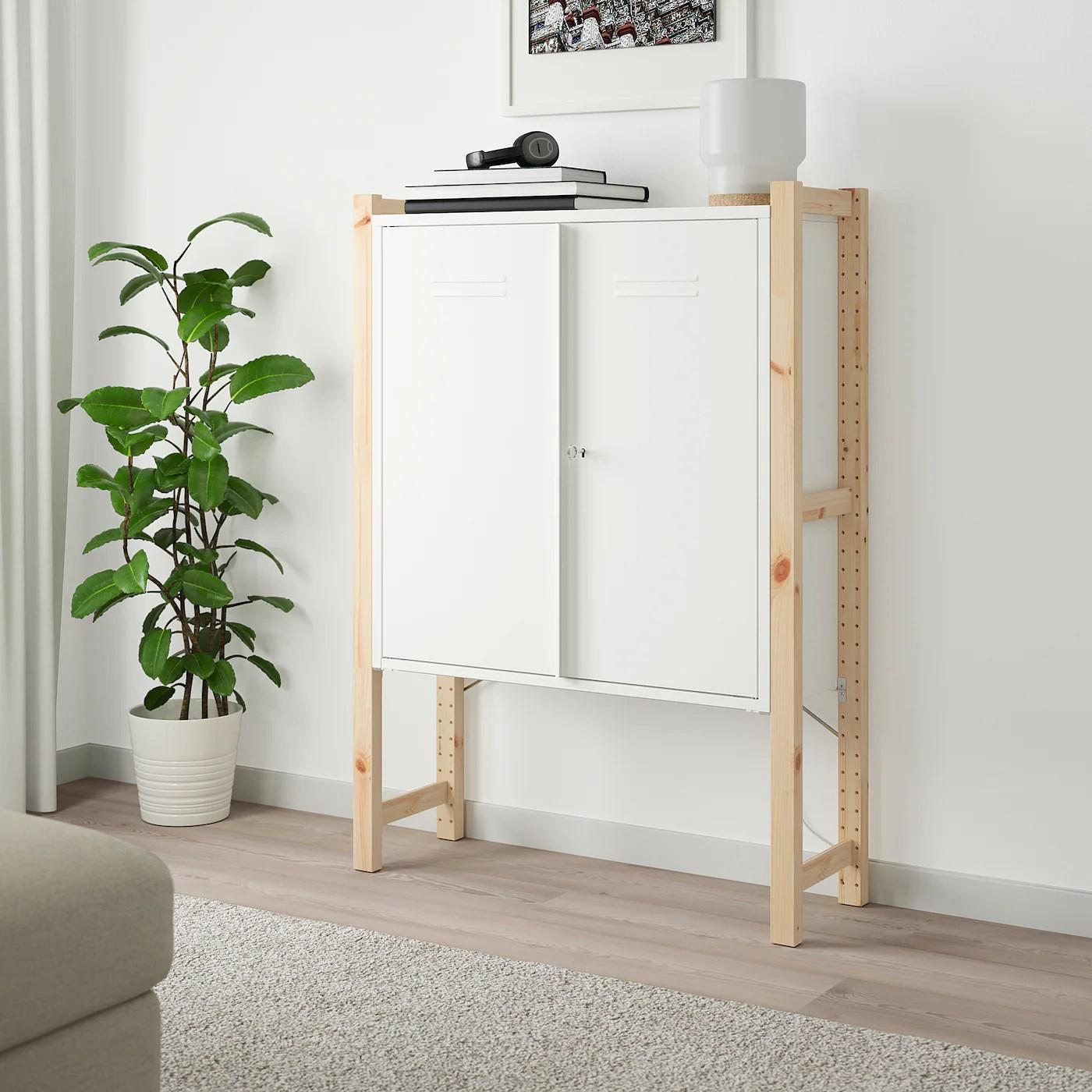 ivar armoire avec portes pin blanc 89x30x124 cm