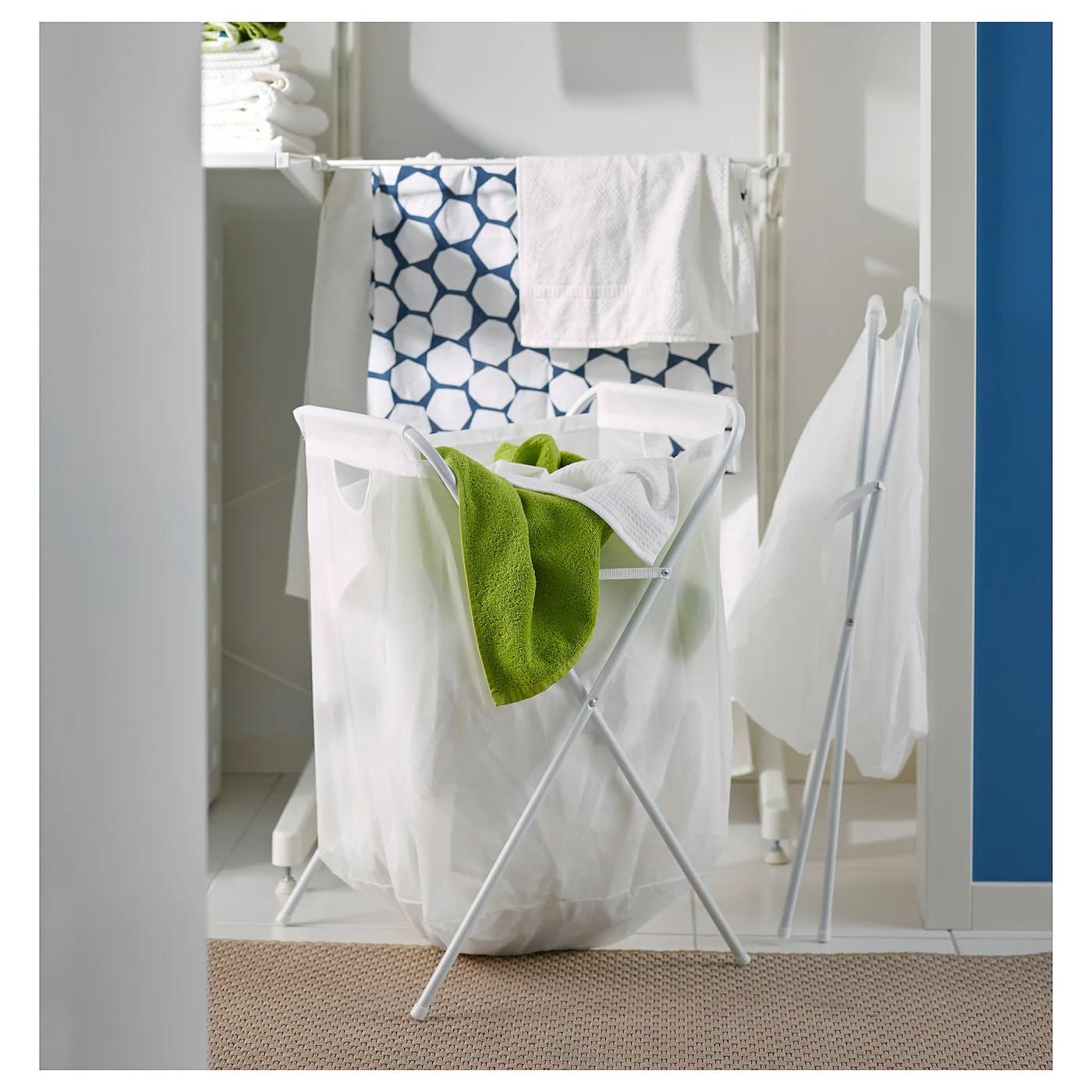 Jall Sac A Linge Et Support Blanc Ikea