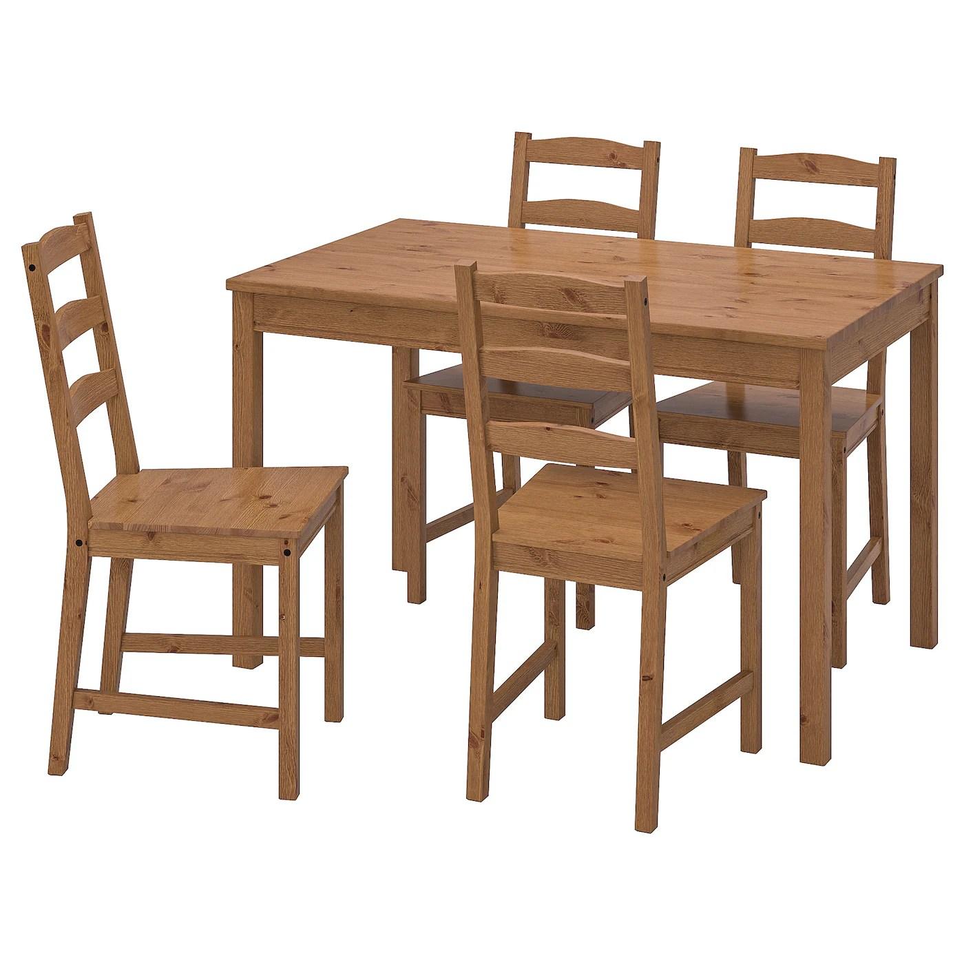 jokkmokk table et 4 chaises vernis effet anc