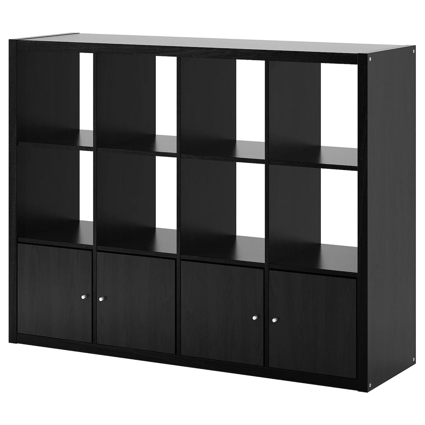 kallax etagere avec 4 accessoires brun noir 147x112 cm