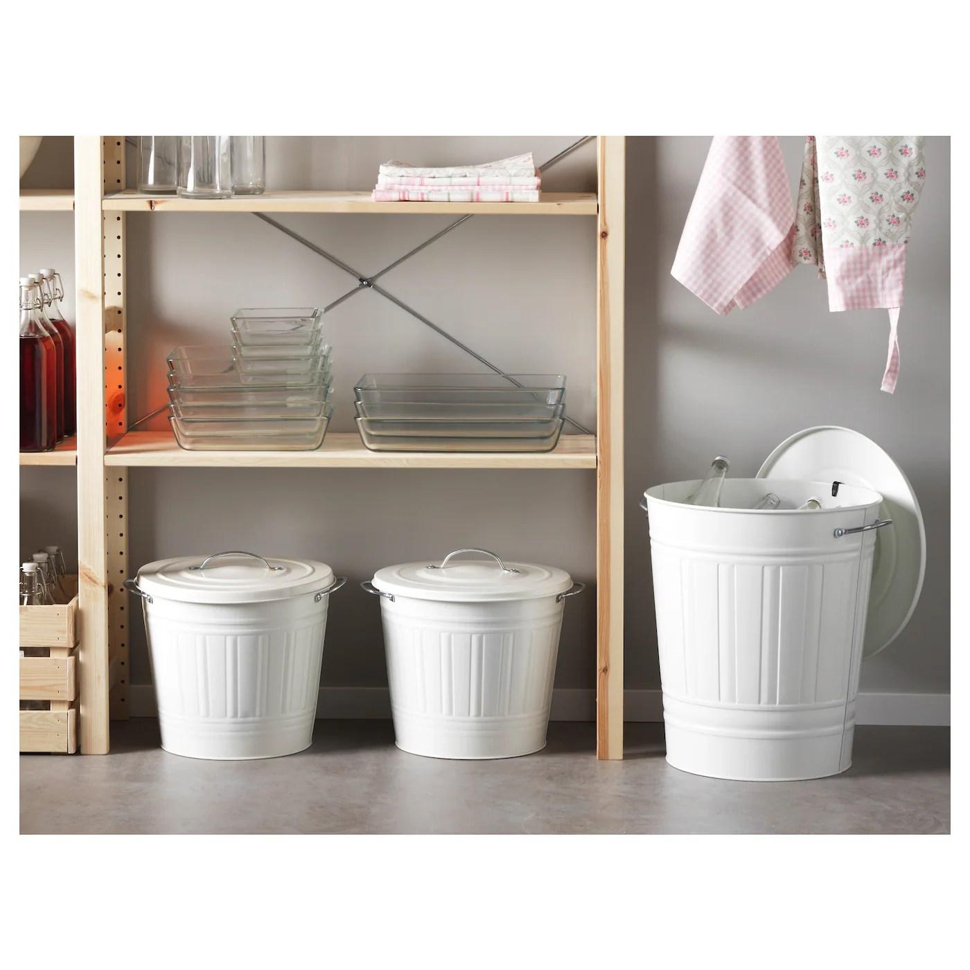 Knodd Poubelle Avec Couvercle Blanc Ikea