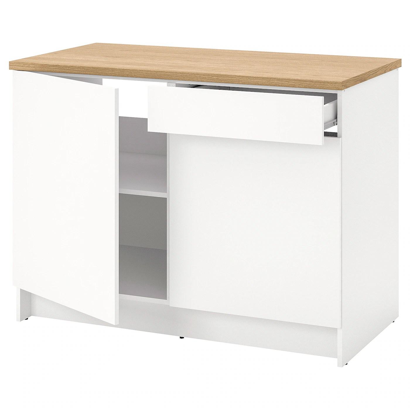 knoxhult element bas avec portes et tiroir blanc 120 cm