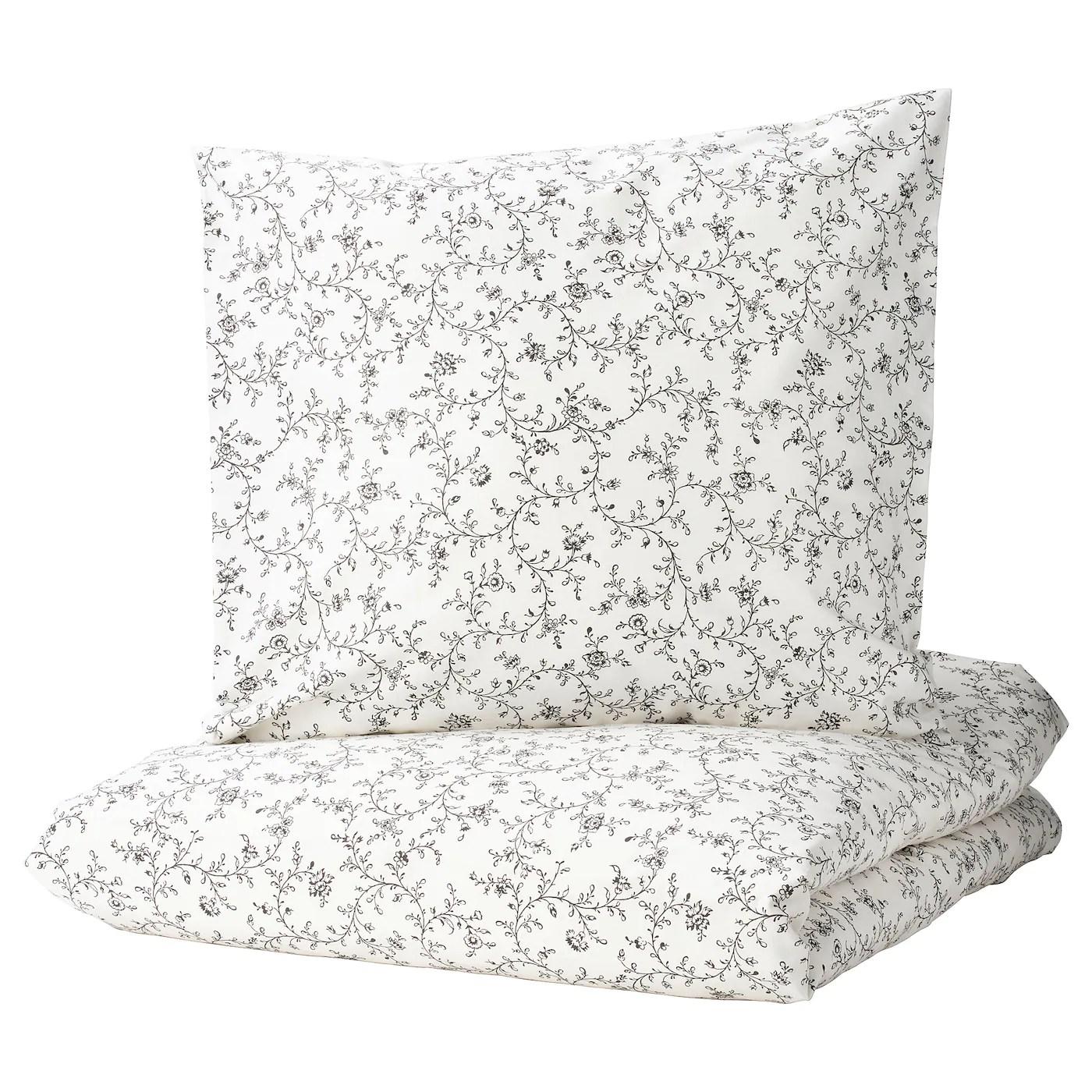 Kopparranka Housse Couette 2 Taies Blanc Gris Fonce 260x240 65x65 Cm Ikea