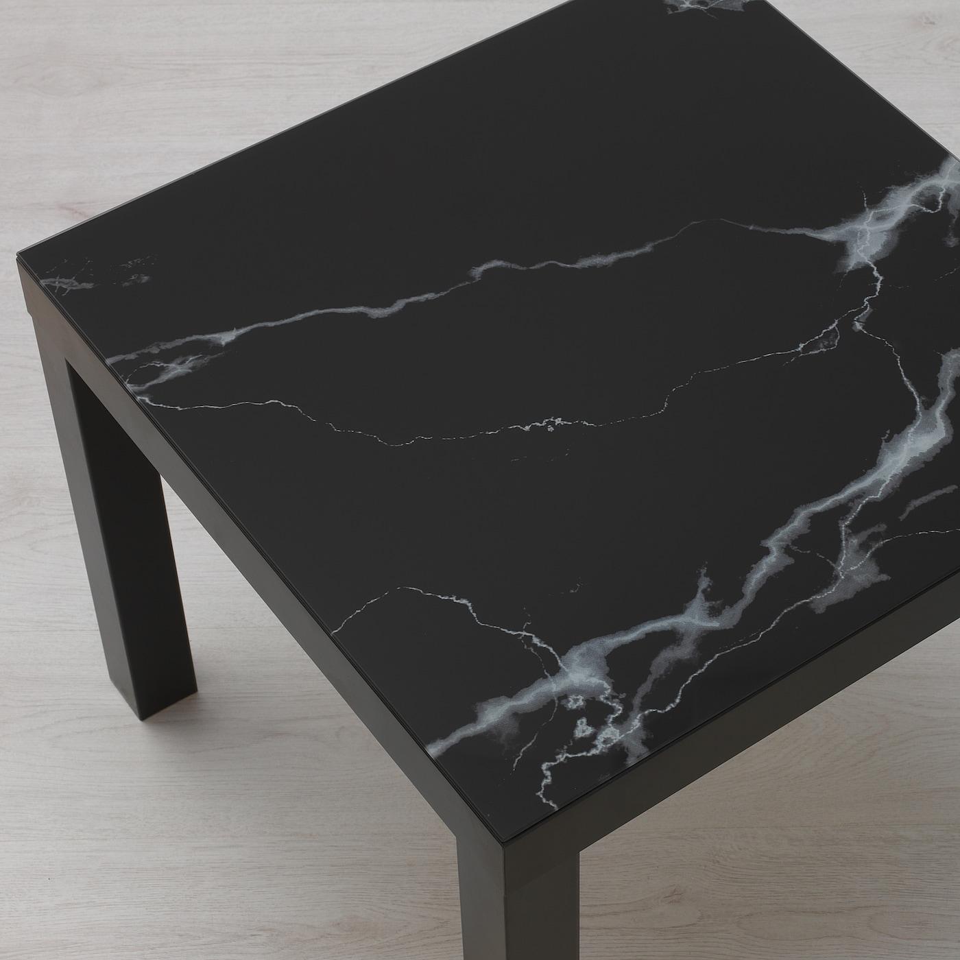 lack plateau en verre marbre noir 55x55 cm