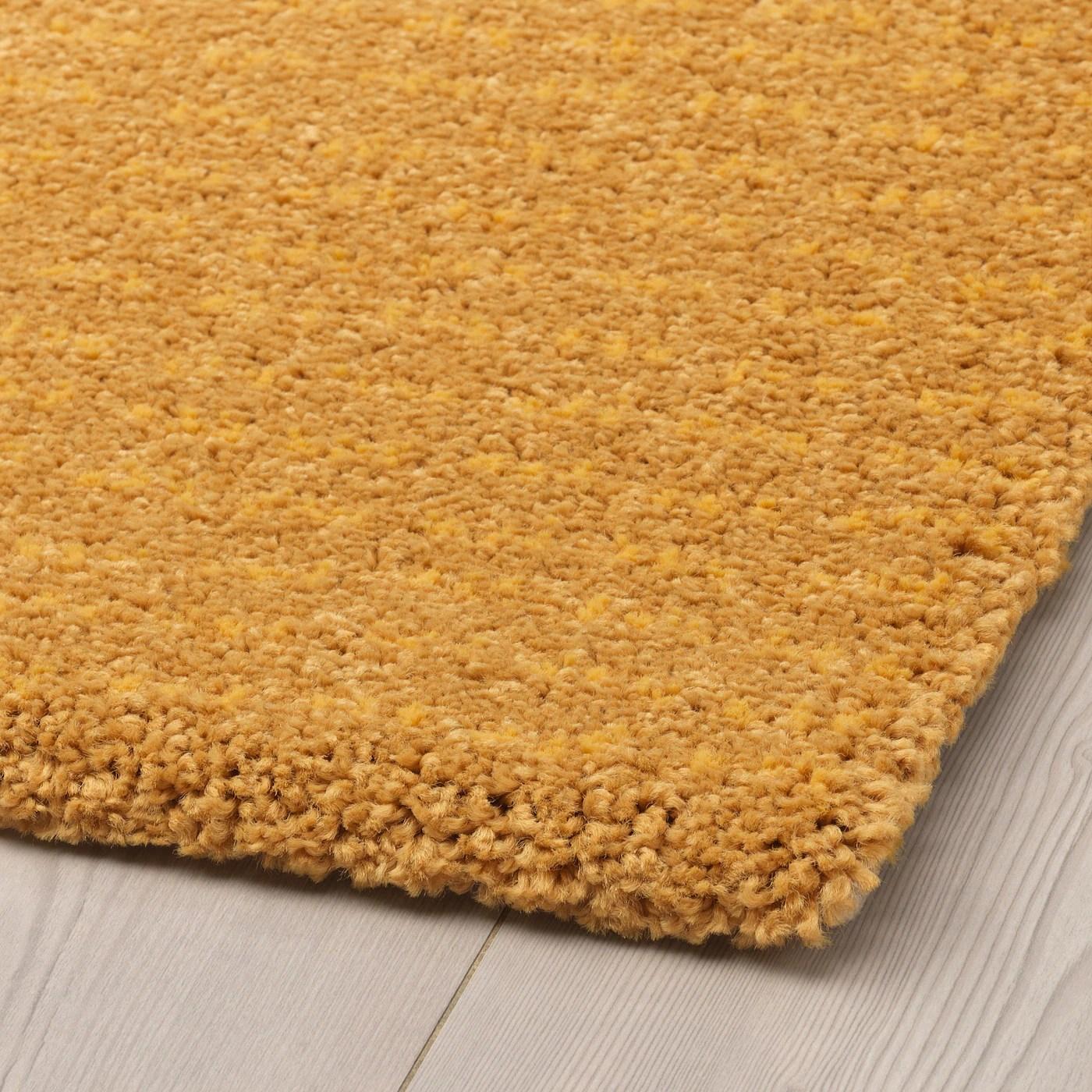 langsted tapis poils ras jaune 133x195 cm