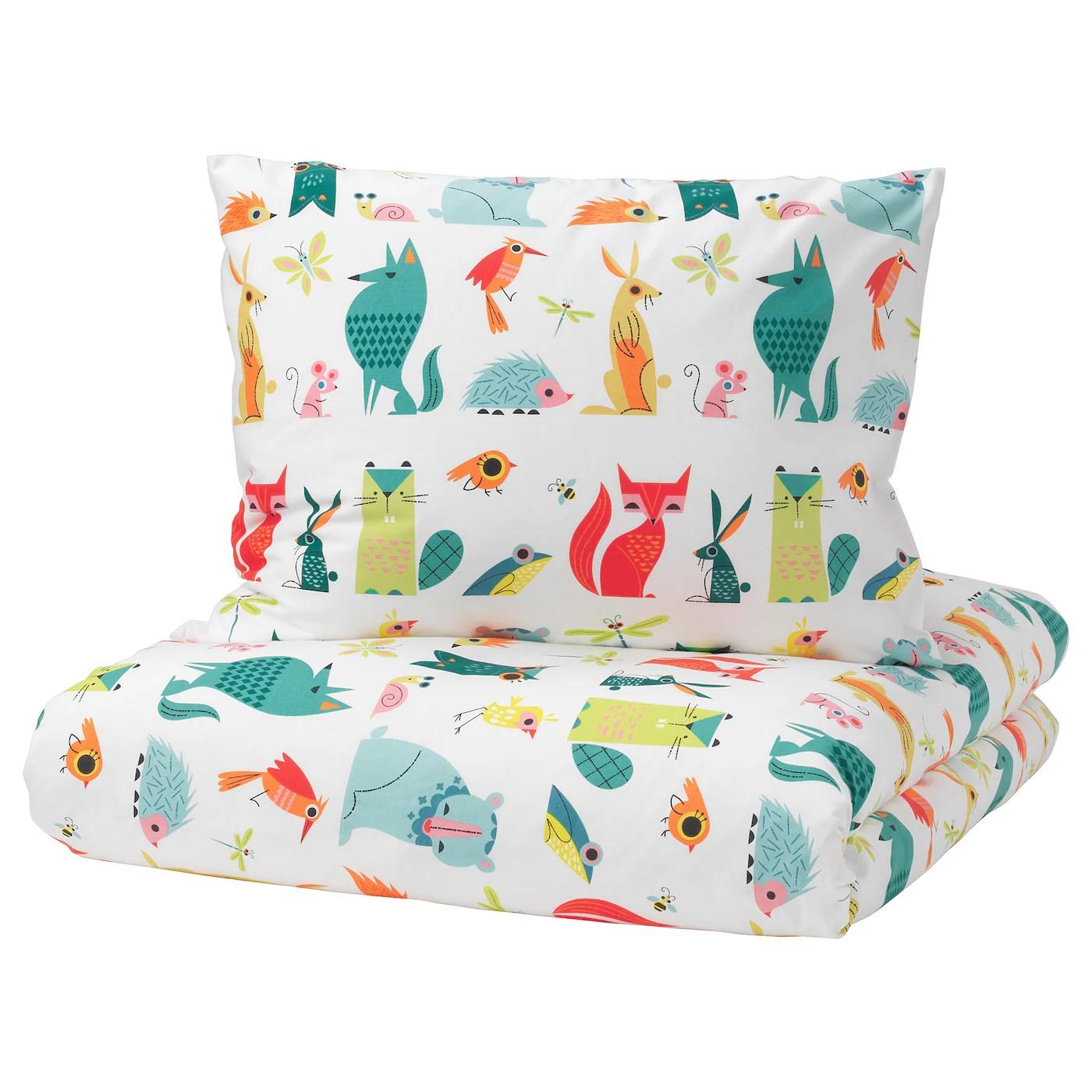 Lattjo Housse Couette Taie Animal Multicolore 150x200 65x65 Cm Ikea
