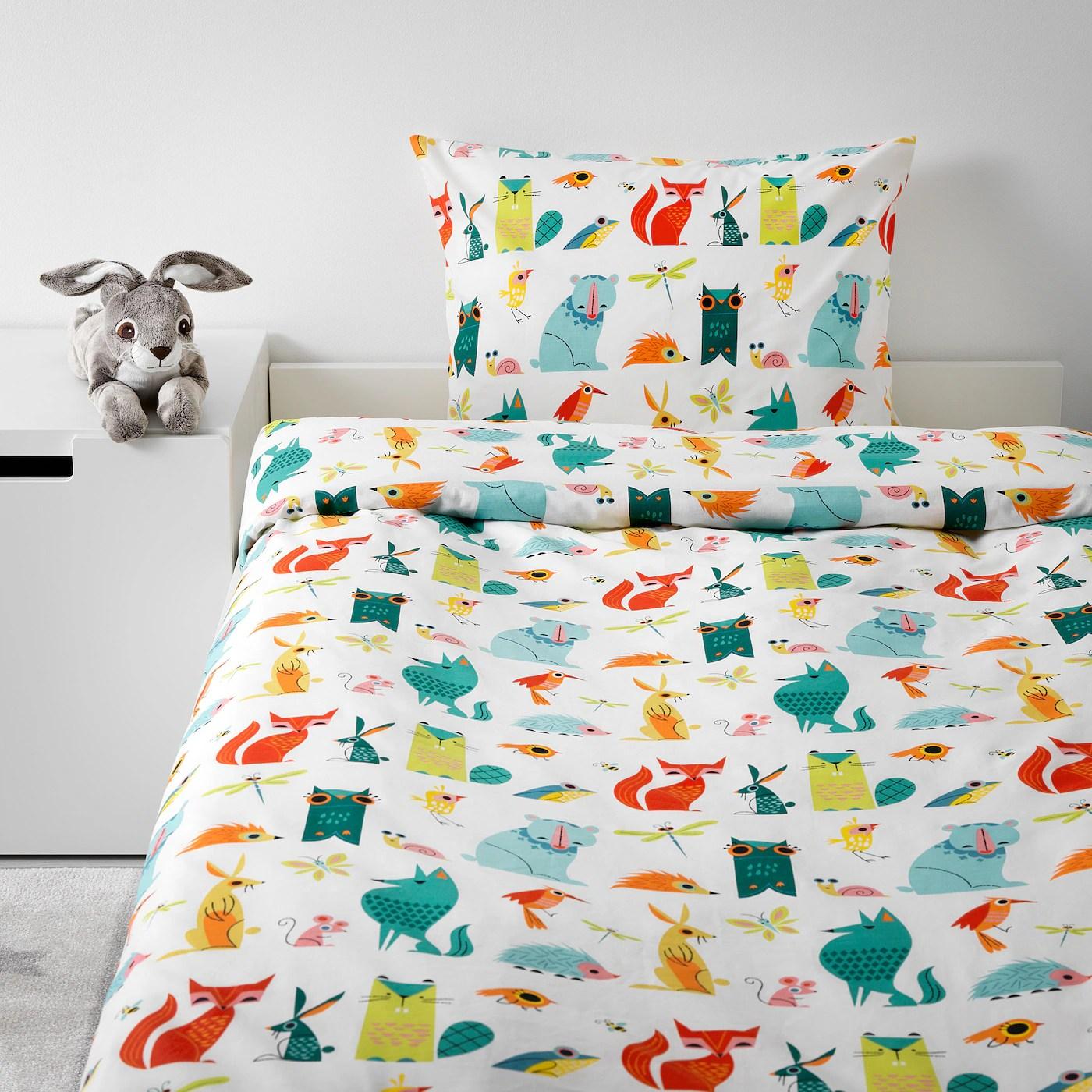 Lattjo Housse De Couette Et Taie Animal Multicolore 150x200 65x65 Cm Ikea