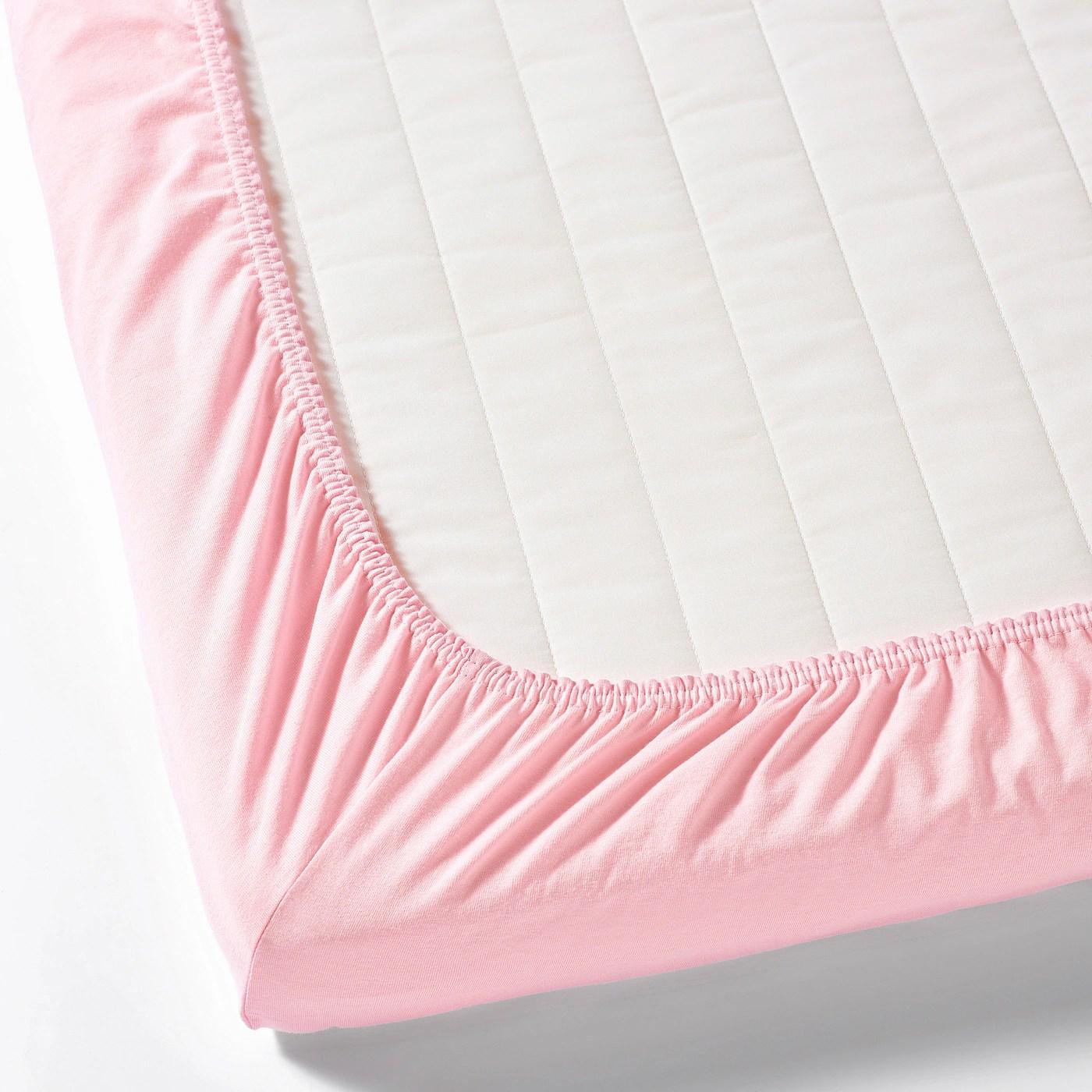 Len Drap Housse Pour Lit Bebe Blanc Rose 60x120 Cm Ikea