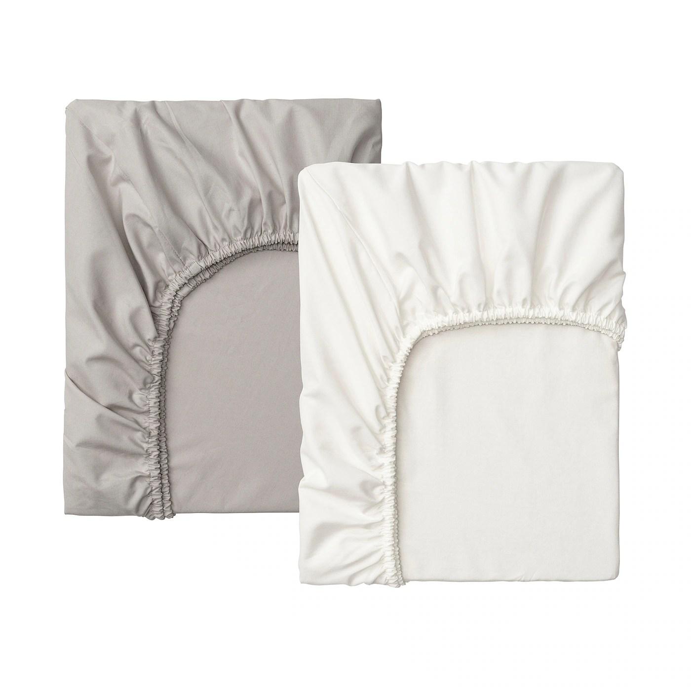 Lenast Drap Housse Pour Lit Bebe Blanc Gris 60x120 Cm Ikea