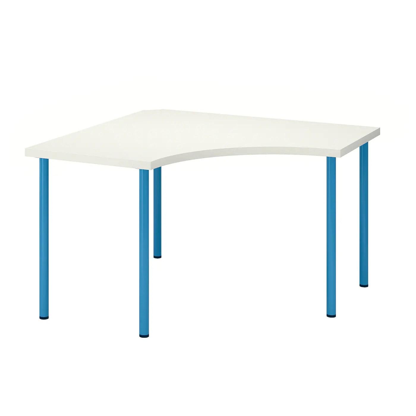 linnmon adils table d angle blanc bleu 120x120 cm
