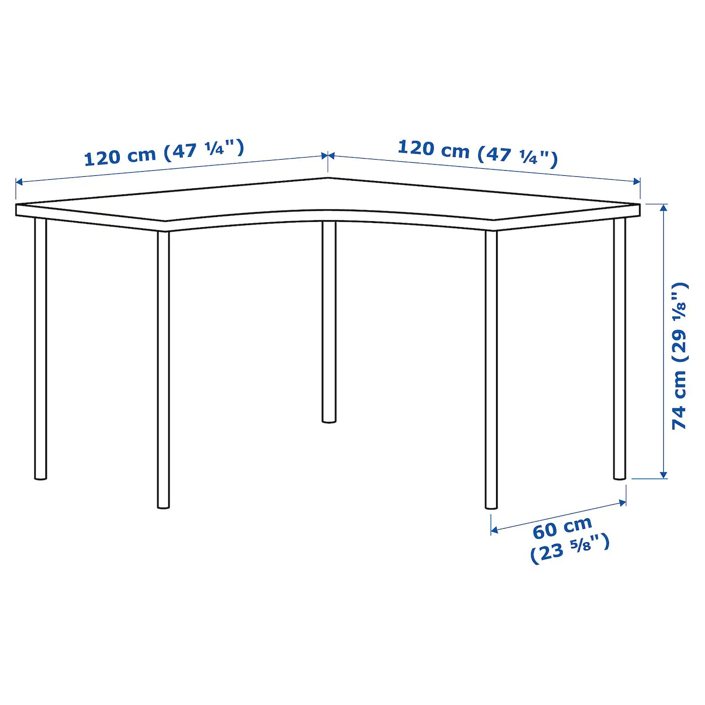 linnmon adils table d angle blanc 120x120 cm
