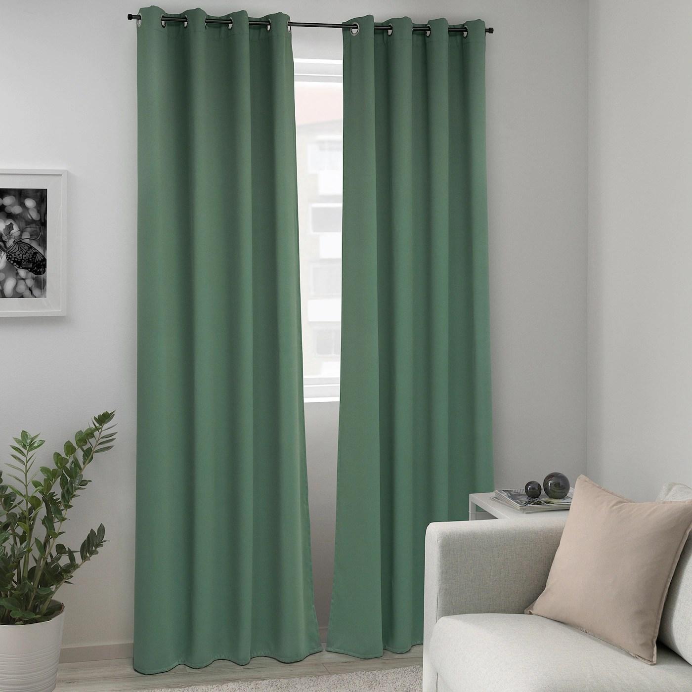 majgull rideaux occultant 2 pieces avec oeillets vert 145x300 cm