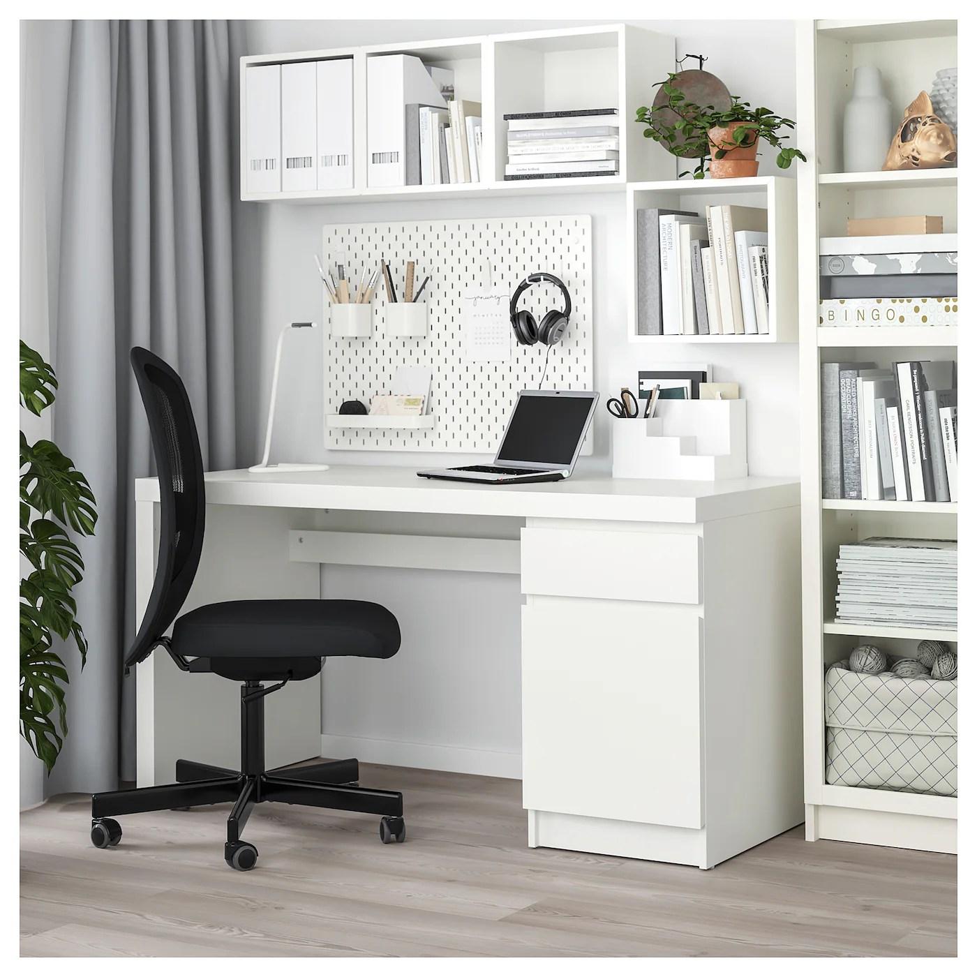 Malm Bureau Blanc 140x65 Cm Ikea