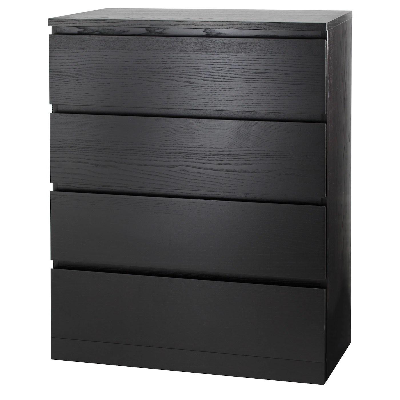 Malm Commode 4 Tiroirs Brun Noir 80x100 Cm Ikea