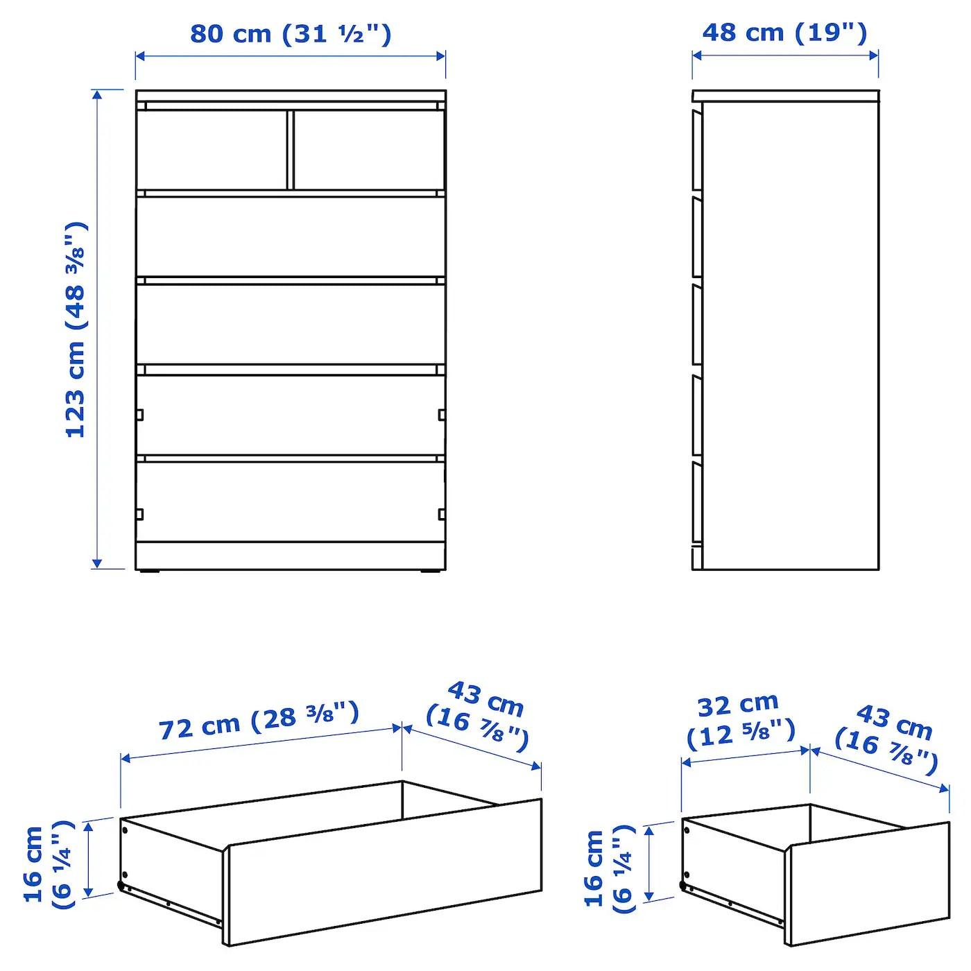 Malm Commode 6 Tiroirs Blanc 80x123 Cm Ikea